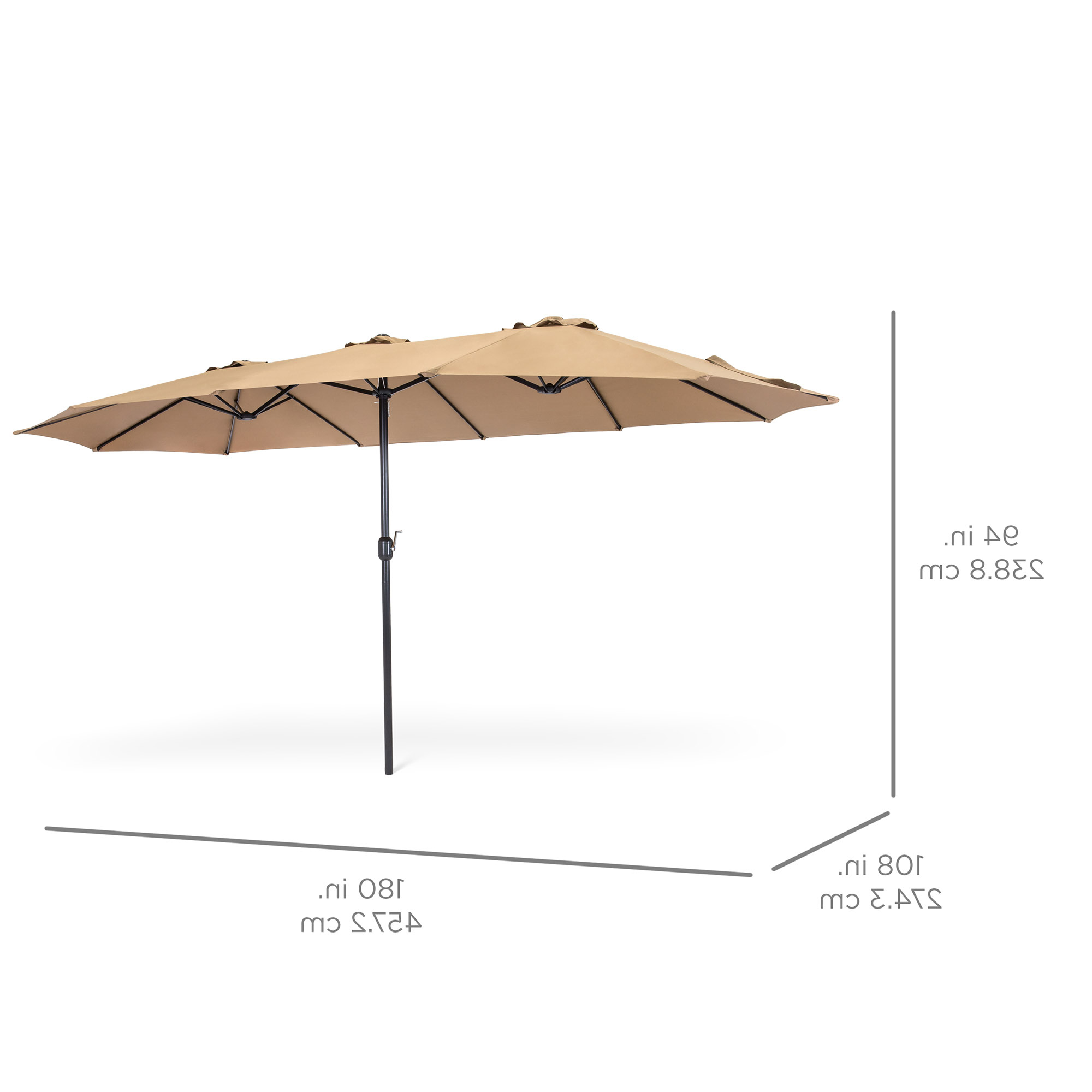 Solid Rectangular Market Umbrellas With Most Recent Best Choice Products 15X9Ft Large Rectangular Outdoor Aluminum Twin Patio  Market Umbrella W/ Crank, Wind Vents For Backyard, Patio, Lawn – Beige (View 15 of 20)