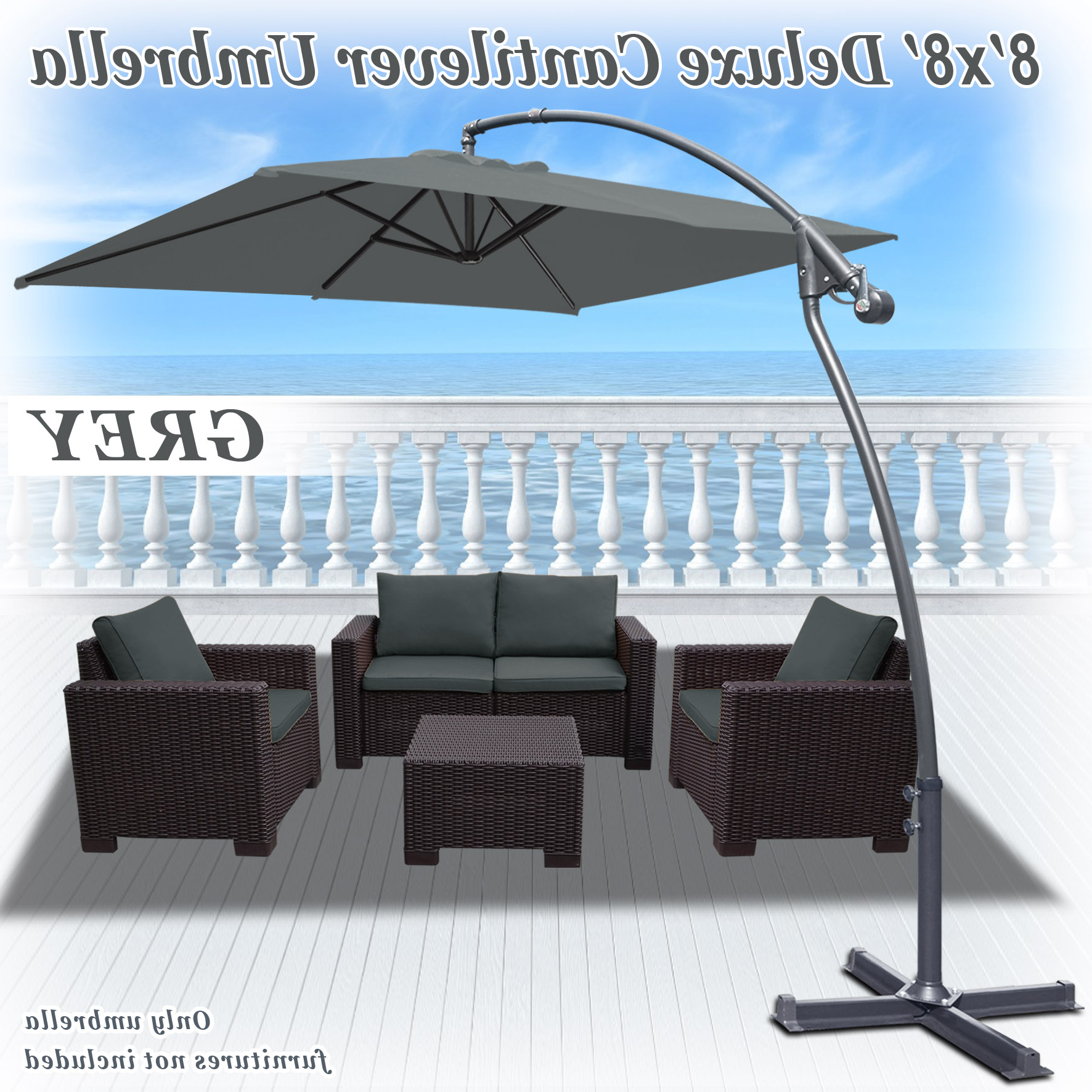 Strong Camel 8' X 8' Cantilever Hanging Umbrella Offset Patio Umbrella Garden Outdoor Sunshade Market 360 Degree Rotational Function In Grey Color With Regard To Latest Justis Cantilever Umbrellas (View 8 of 20)