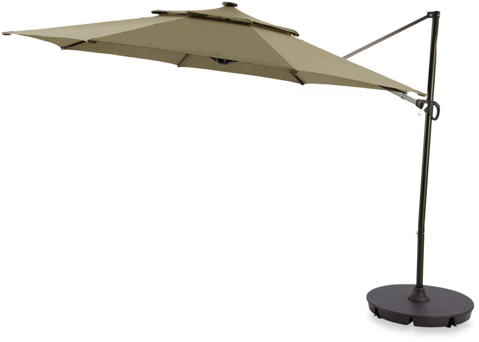 Sun Ray Solar Cantilever Umbrellas For Well Liked 11 Ft Round Solar Cantilever Patio Umbrella Yard Outdoor Shade Home Garden  Sun (View 14 of 20)
