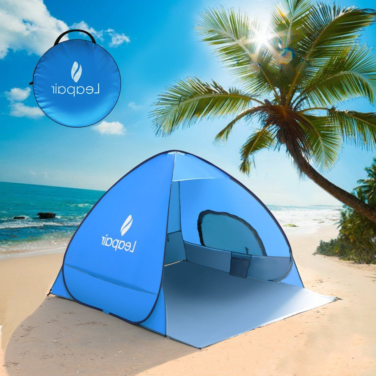 Sun Shelter Beach Umbrellas With Regard To Most Up To Date Leapair Sun Shelter Tent Instant Easy Pop Up Beach Umbrella Sport (View 8 of 20)