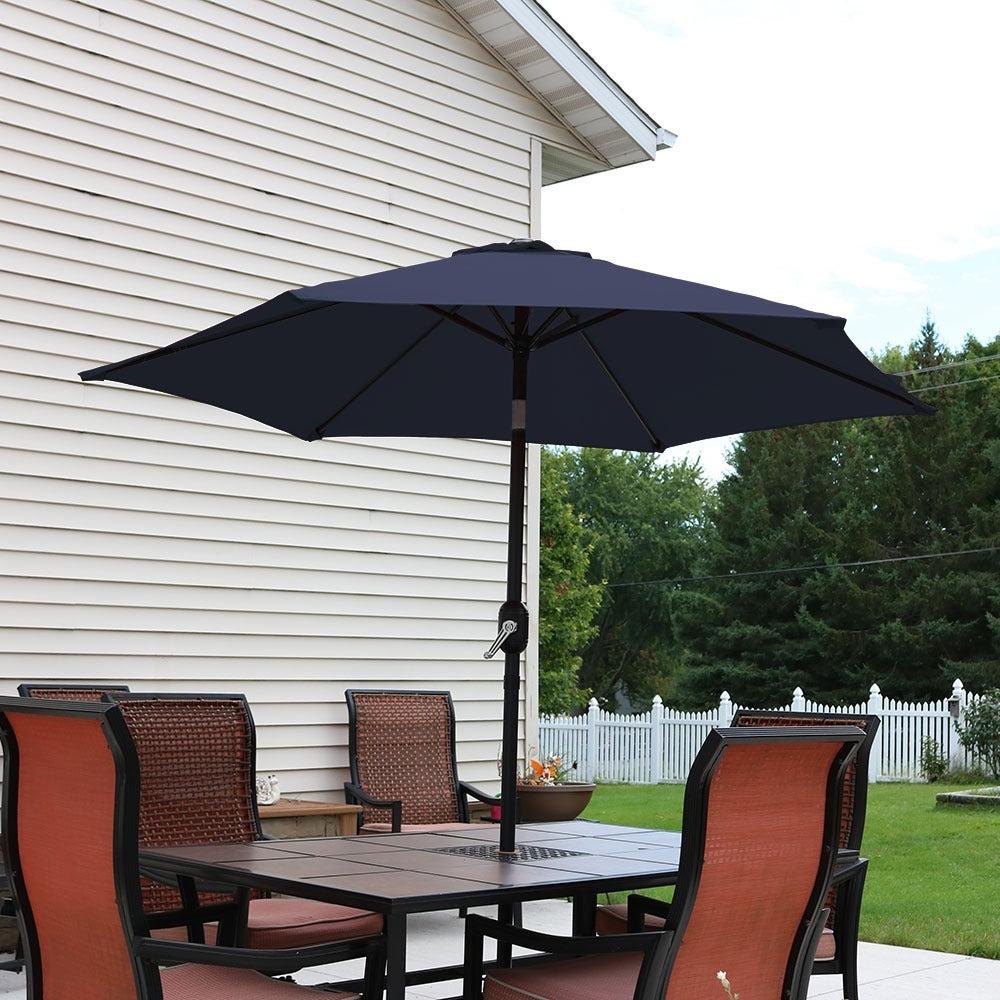 Sunnydaze Patio Market Umbrella W/ Tilt & Crank  (View 17 of 20)
