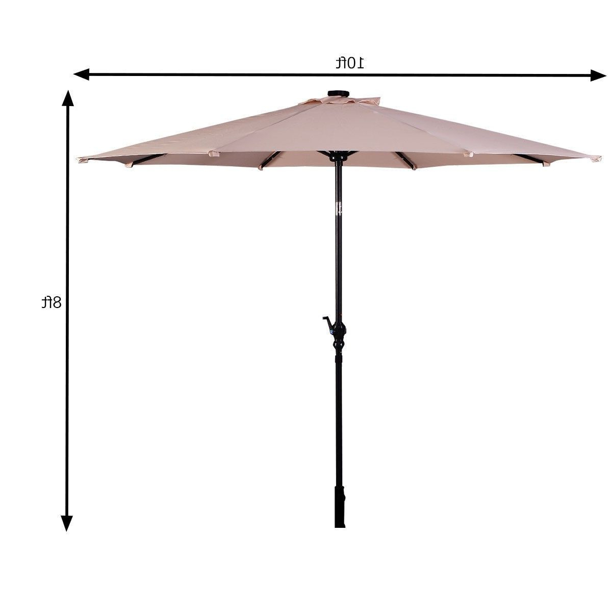 Trendy 10 Ft Patio Solar Umbrella With Crank And Led Lights (View 20 of 20)
