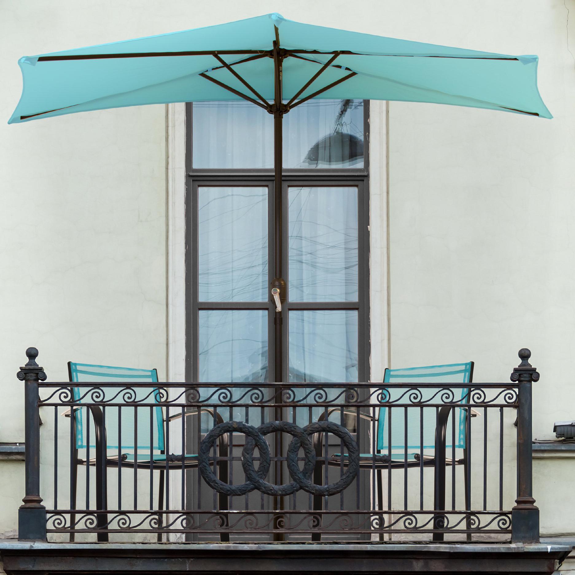 Trendy Colburn Half Market Umbrellas With Regard To Pure Garden Half Round 9' Market Umbrella (View 18 of 20)