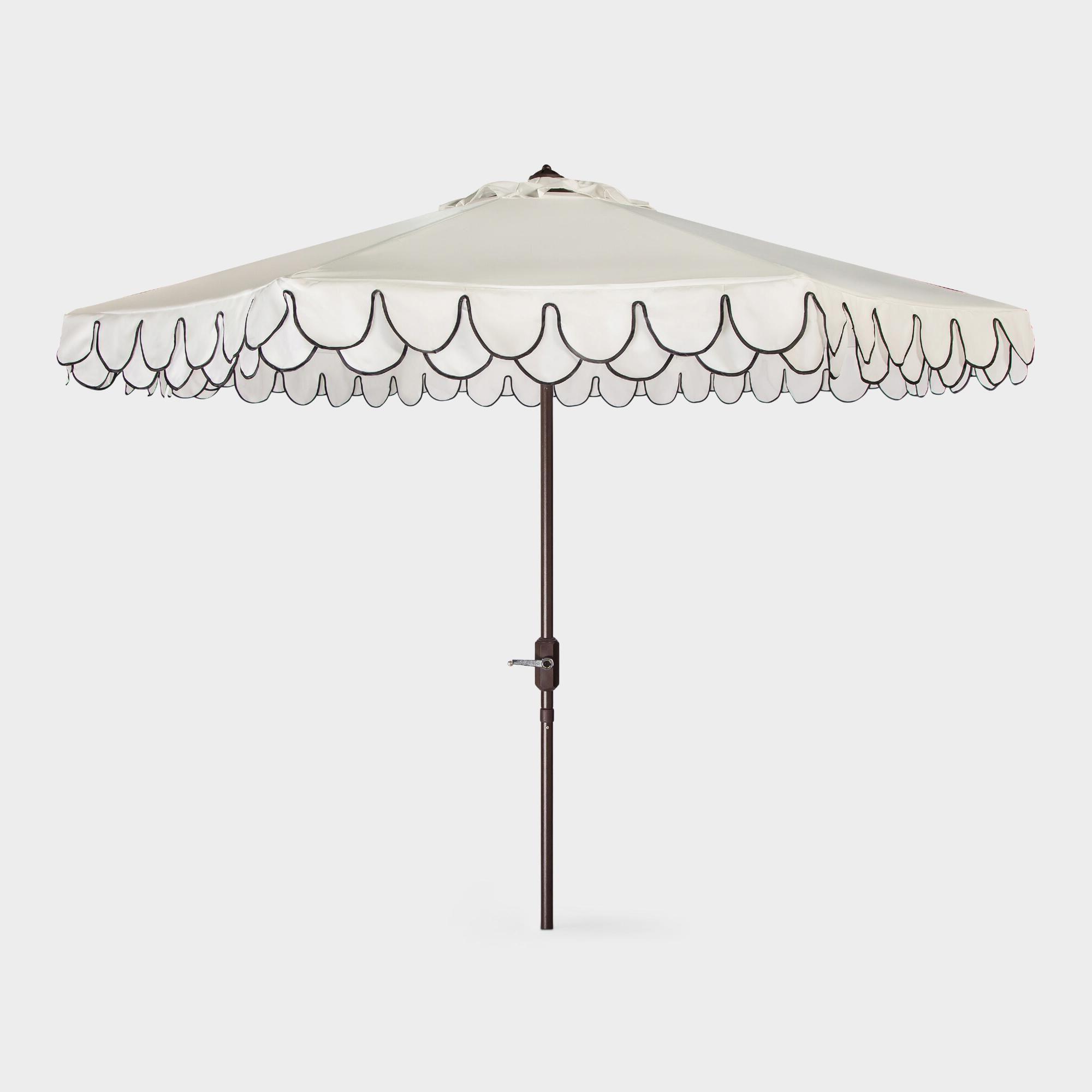 Trendy Lizarraga Market Umbrellas With White And Black Double Scallop 9 Ft Tilting Outdoor Patio Umbrella (View 7 of 20)