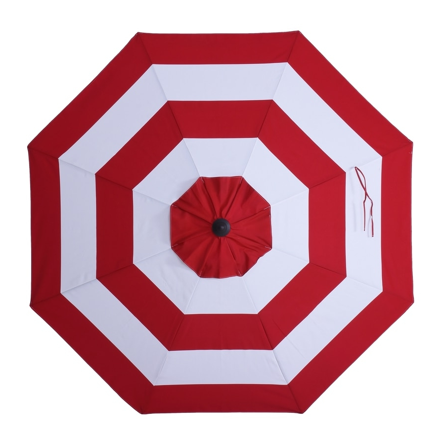 Tropical Patio Umbrellas Throughout Popular Allen + Roth Red Awning Market 9 Ft Auto Tilt Round Patio Umbrella (View 15 of 20)