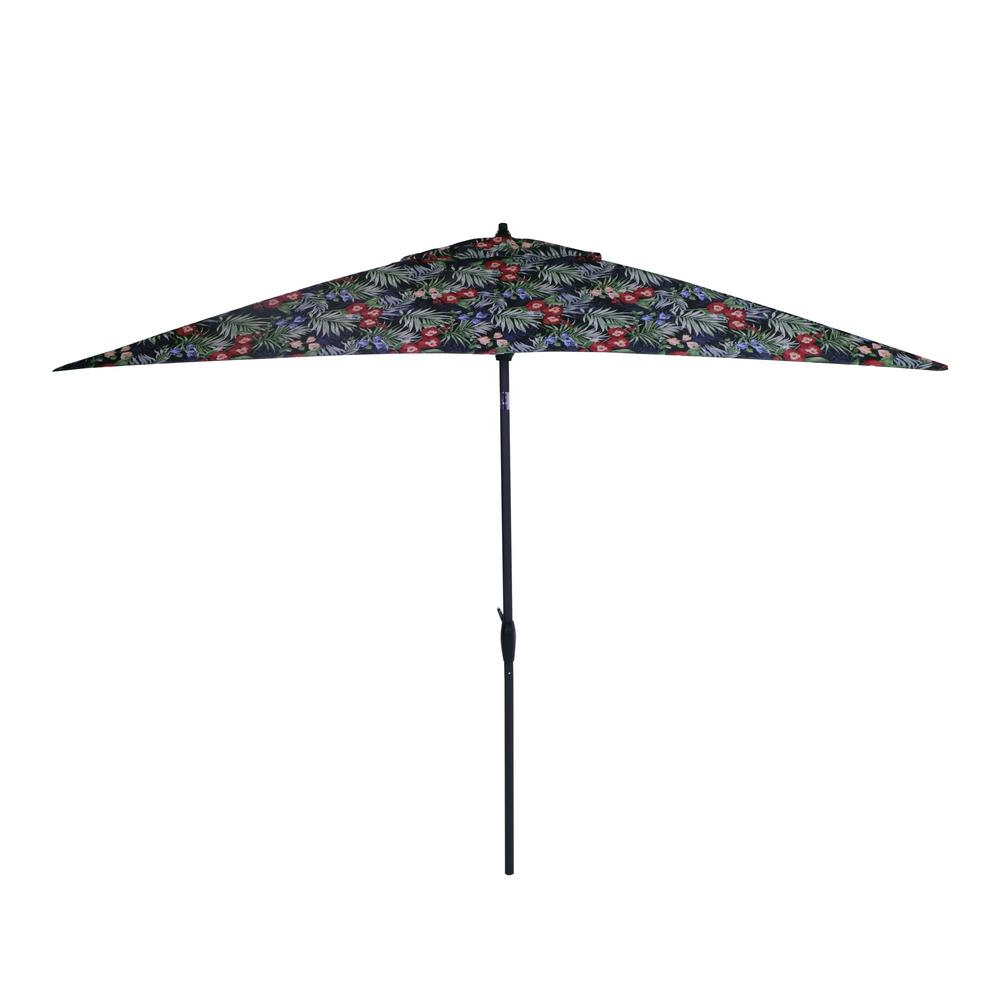 Tropical Patio Umbrellas With Well Known Hampton Bay 10 Ft. X 6 Ft (View 3 of 20)