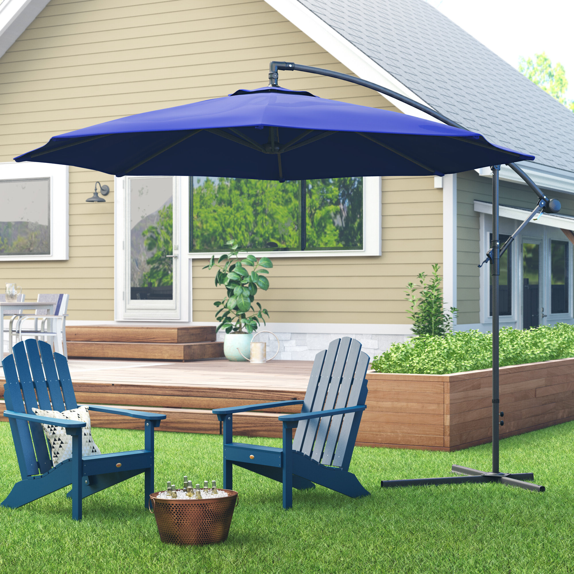 Trotman 10' Cantilever Umbrella Intended For Well Liked Vassalboro Cantilever Umbrellas (View 12 of 20)