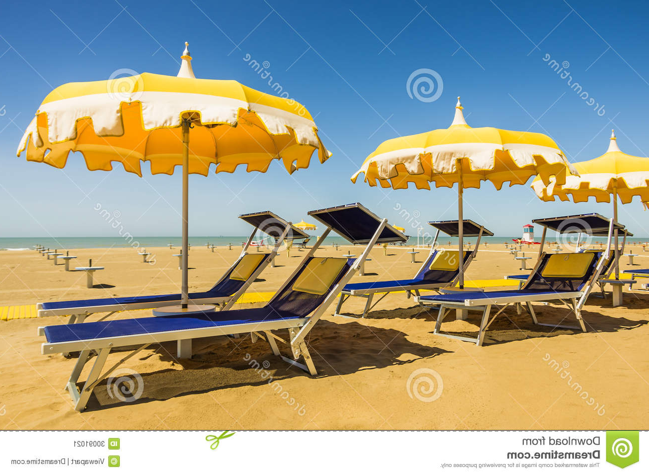 Umbrellas And Sunbeds – Rimini Beach, Italy Stock Image – Image Of Within Recent Italian Beach Umbrellas (View 19 of 20)