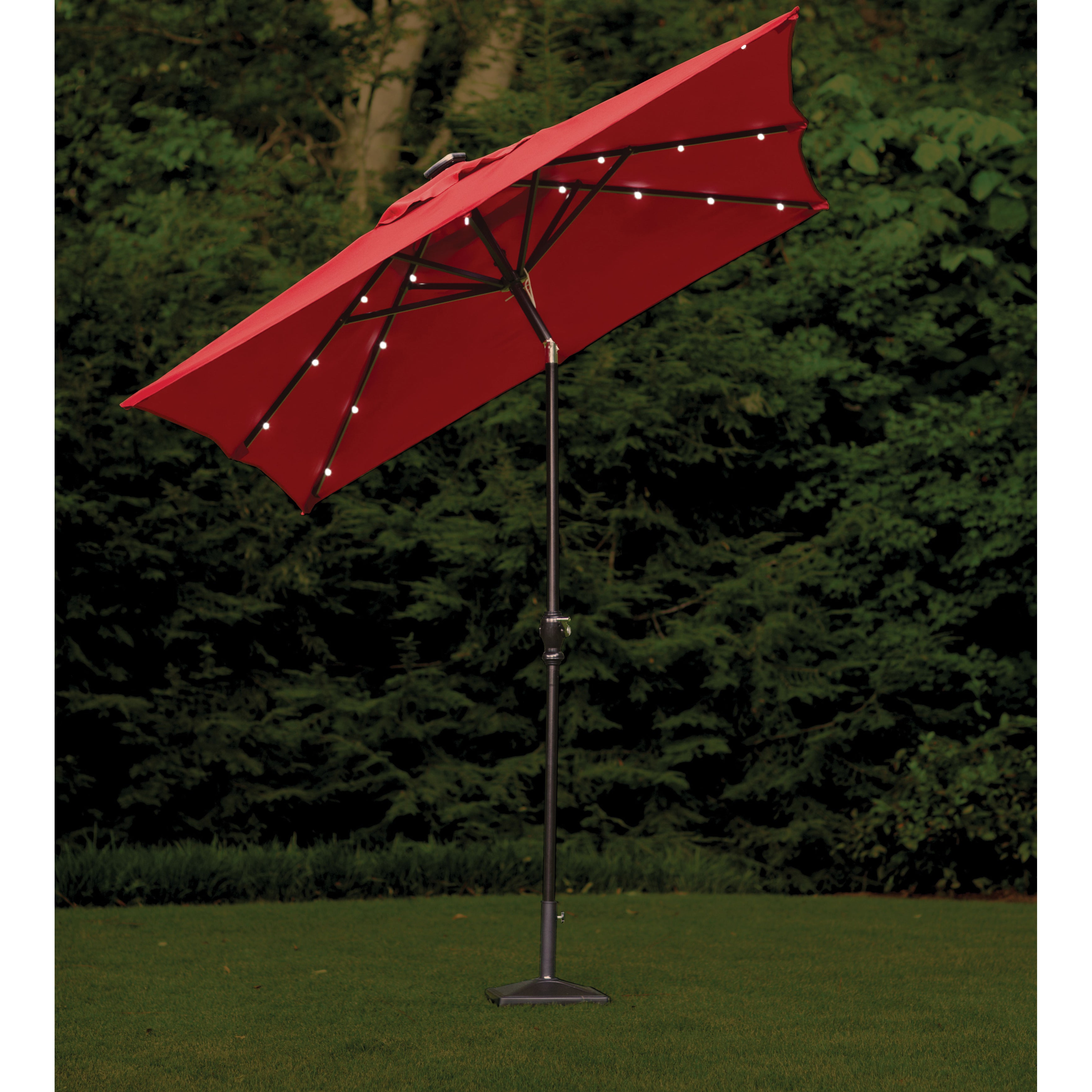 Venice Lighted Umbrellas Within Most Recent Rectangular Scarlet Outdoor Solar Lighted Umbrella (9' X 7') (View 15 of 20)