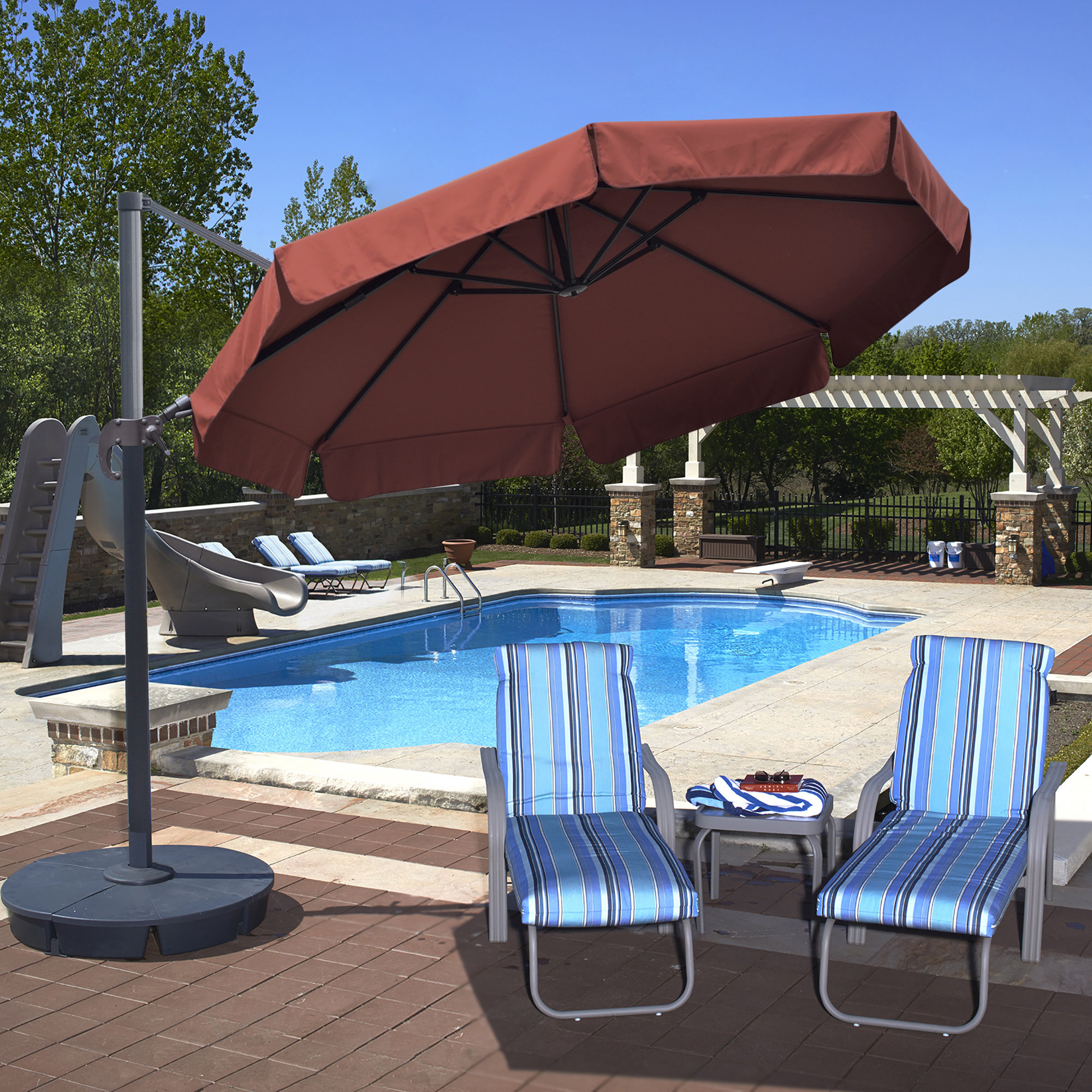 Voss Cantilever Sunbrella Umbrellas In Newest Emely 11' Cantilever Sunbrella Umbrella (Gallery 19 of 20)