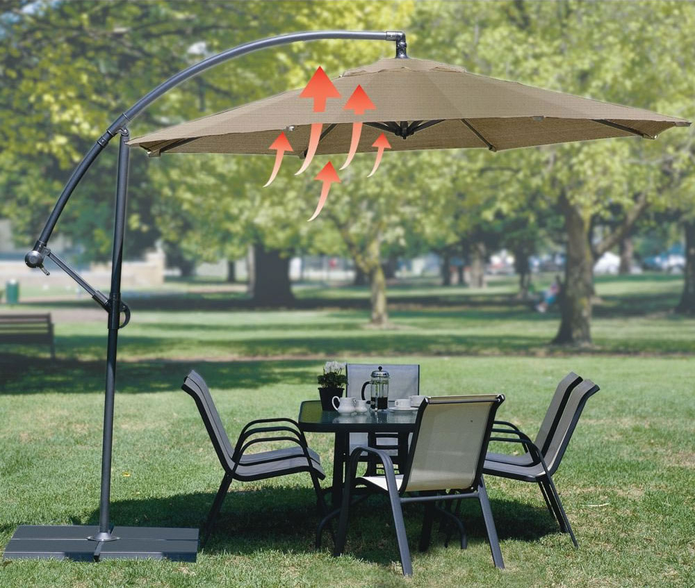 Well Known Coolaroo Cantilever Umbrellas Regarding Convection Cooling Cantilever Umbrella (View 17 of 20)