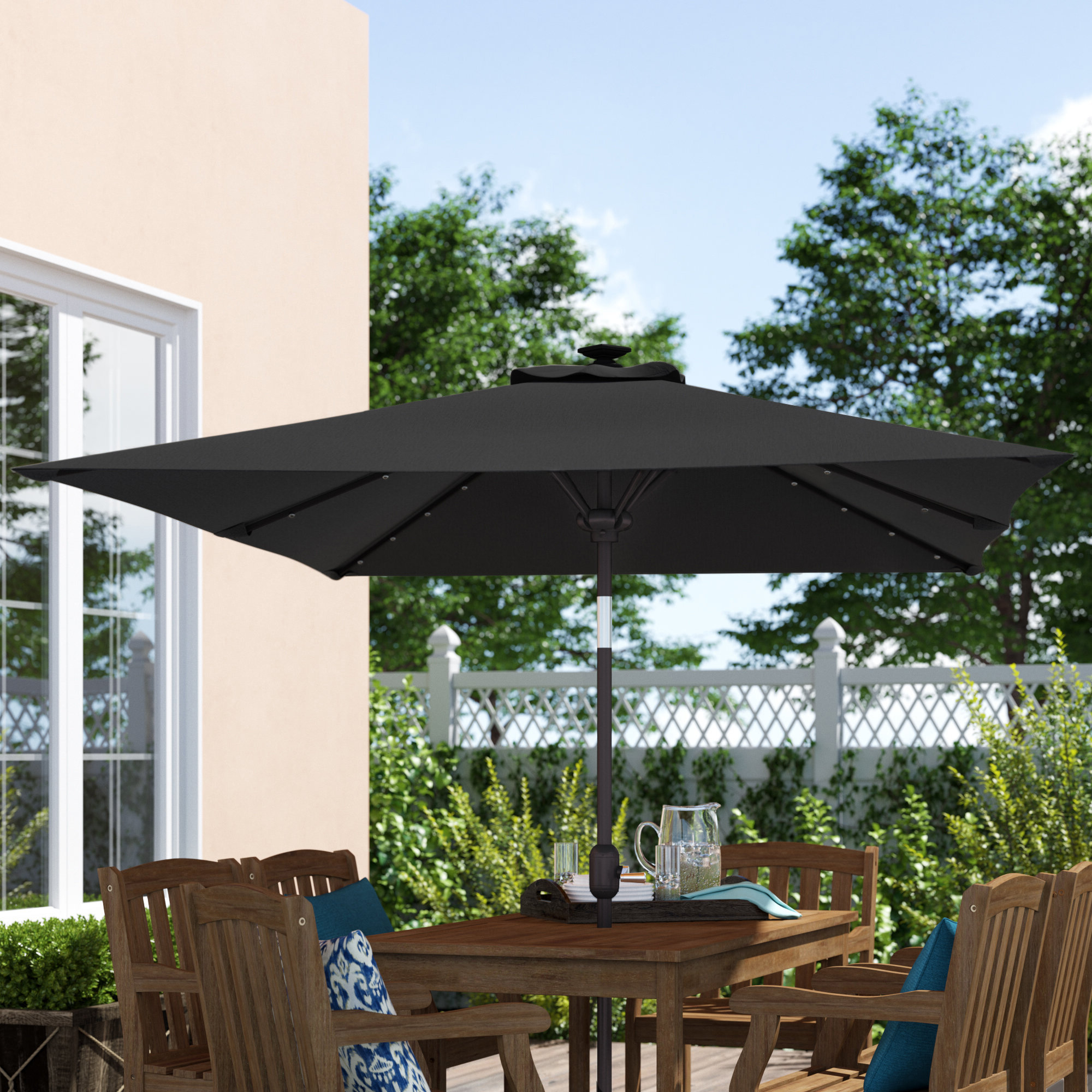 "Well Known Eliana Solar Lighted Sunshade Tilt Crank 10' X 6'6"" Rectangular Market Umbrella Pertaining To Sherlyn Rectangular Market Umbrellas (View 19 of 20)"
