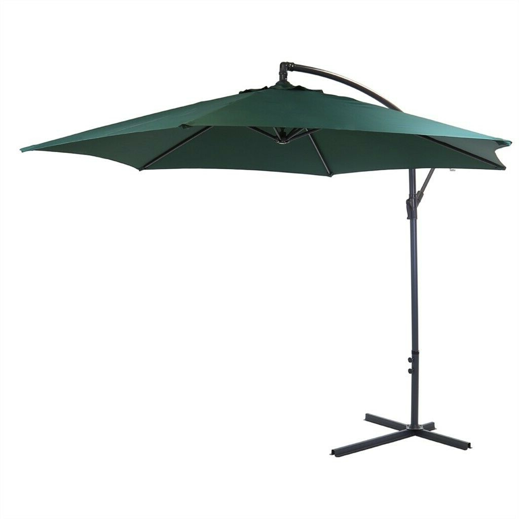 Well Known Farnham Cantilever Umbrellas Throughout Green Banana Hanging Garden Parasol X3m With Granite Base Included (View 12 of 20)