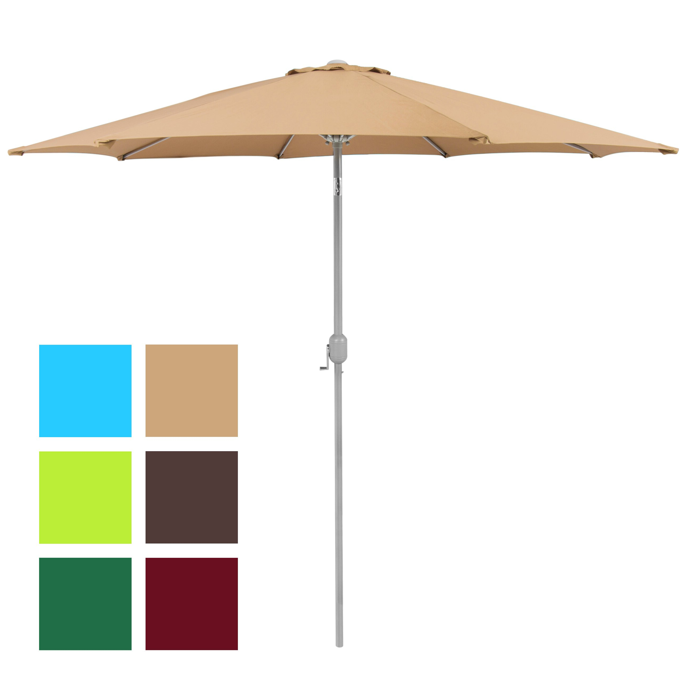 Well Known Market Umbrellas Intended For Patio Umbrella 9' Aluminum Patio Market Umbrella Tilt W/ Crank Outdoor Tan (View 10 of 20)