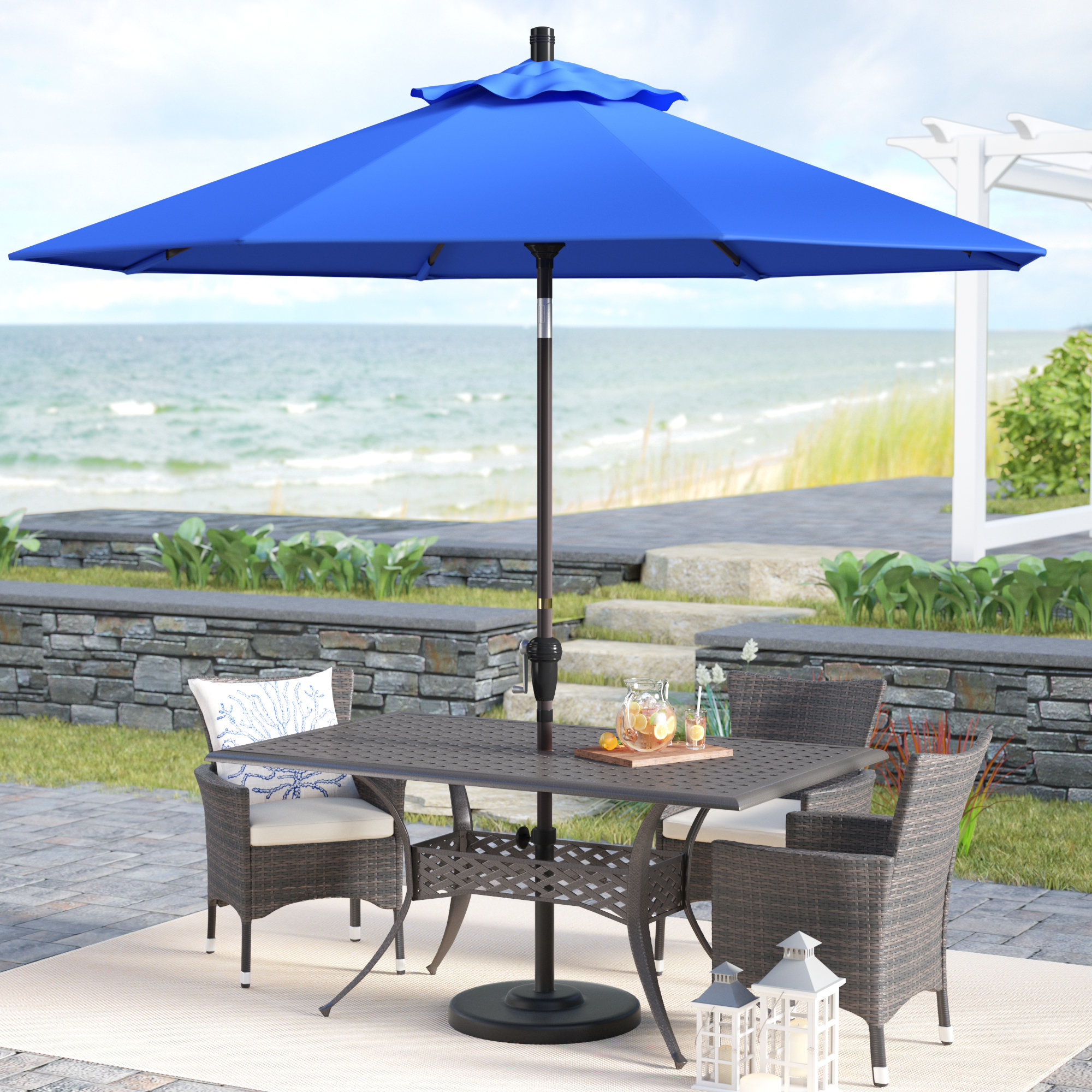 Well Known Mullaney Beachcrest Home Market Umbrellas Intended For Mullaney 9' Market Sunbrella Umbrella (View 7 of 20)