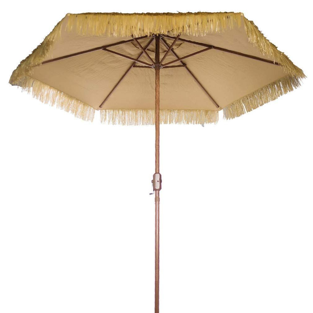 Well Known Outdoor Patio Umbrella 9 Feet Thatched Tiki Market Table Umbrella For Macclesfield Square Cantilever Umbrellas (View 20 of 20)