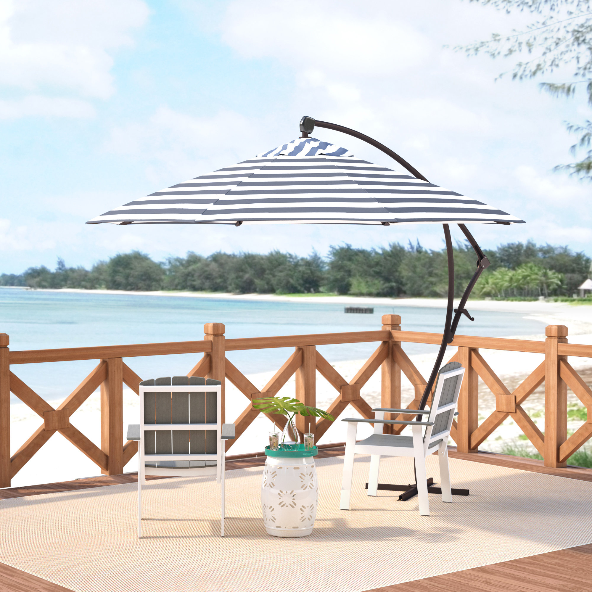 Well Known Ryant Cantilever Umbrellas Regarding Ryant 9' Cantilever Umbrella (View 2 of 20)