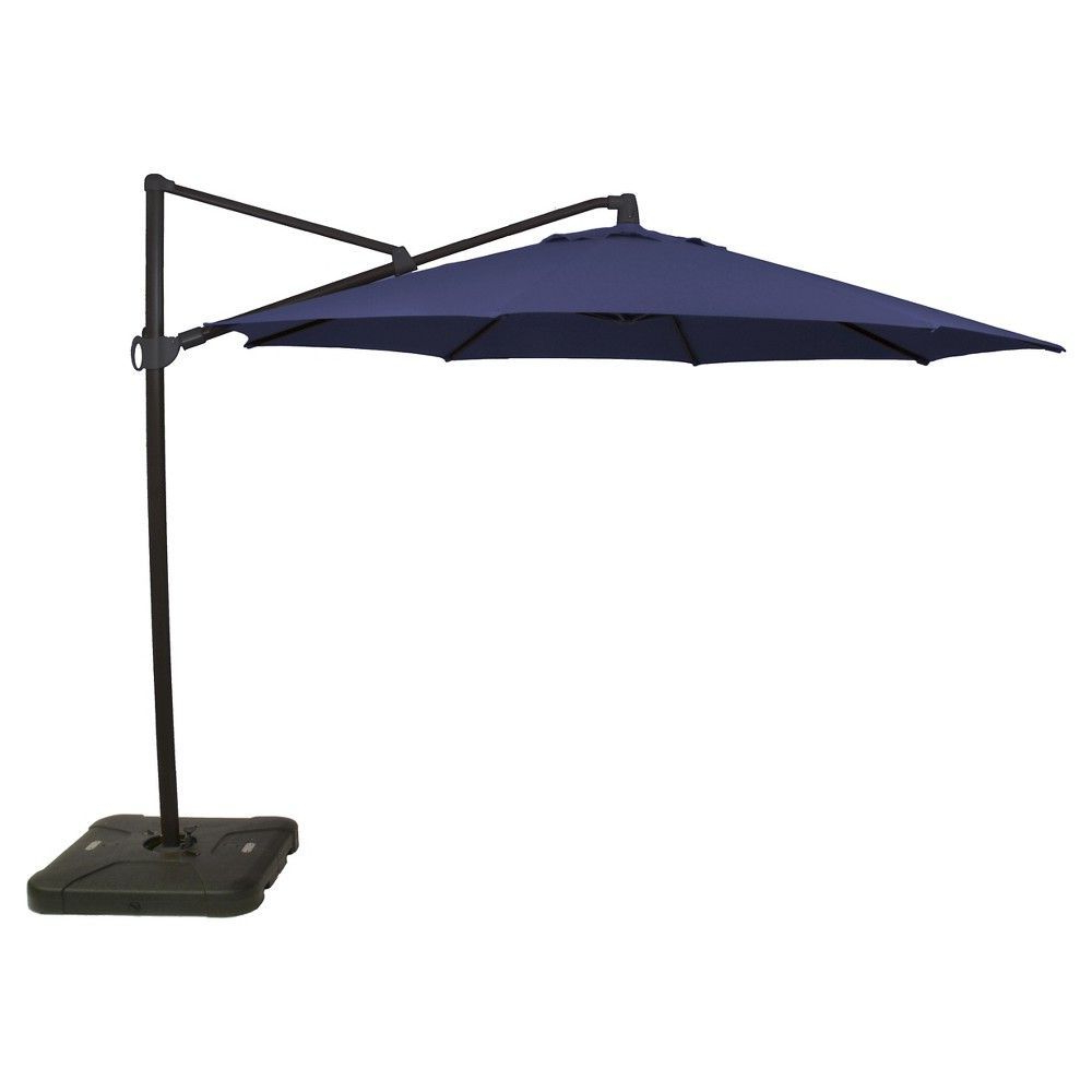 Well Liked 11' Offset Patio Umbrella Navy – Black Pole – Threshold™ (View 5 of 20)