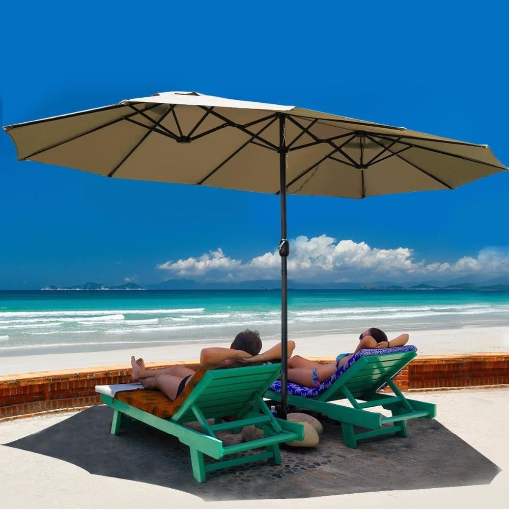 Well Liked 15' Market Double Sided Outdoor Umbrella In (View 9 of 20)