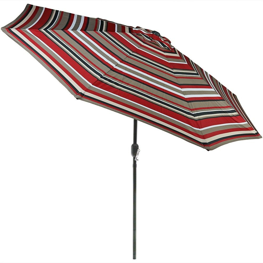 Well Liked Aluminum Market Tilt Striped Patio Umbrella 9' – Awning Stripe Within Dade City North Half Market Umbrellas (View 13 of 20)