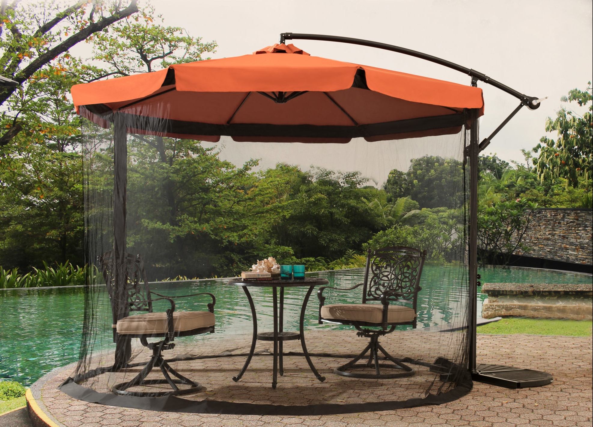 Well Liked Anthea Beachcrest Home 10' Cantilever Umbrella Intended For Elaina Cantilever Umbrellas (View 4 of 20)