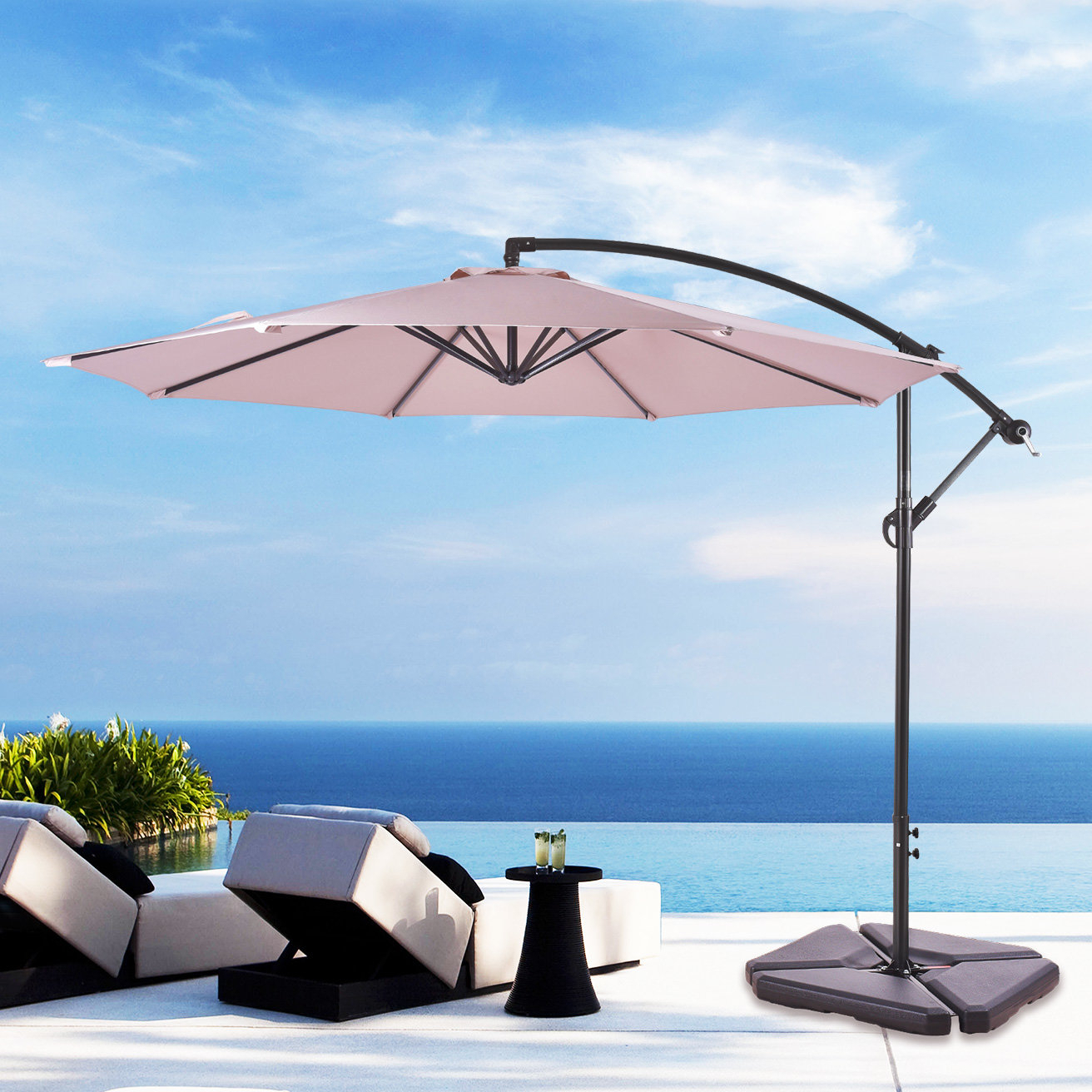 Well Liked Irven Cantilever Umbrellas Within Karr 10' Cantilever Umbrella (View 20 of 20)