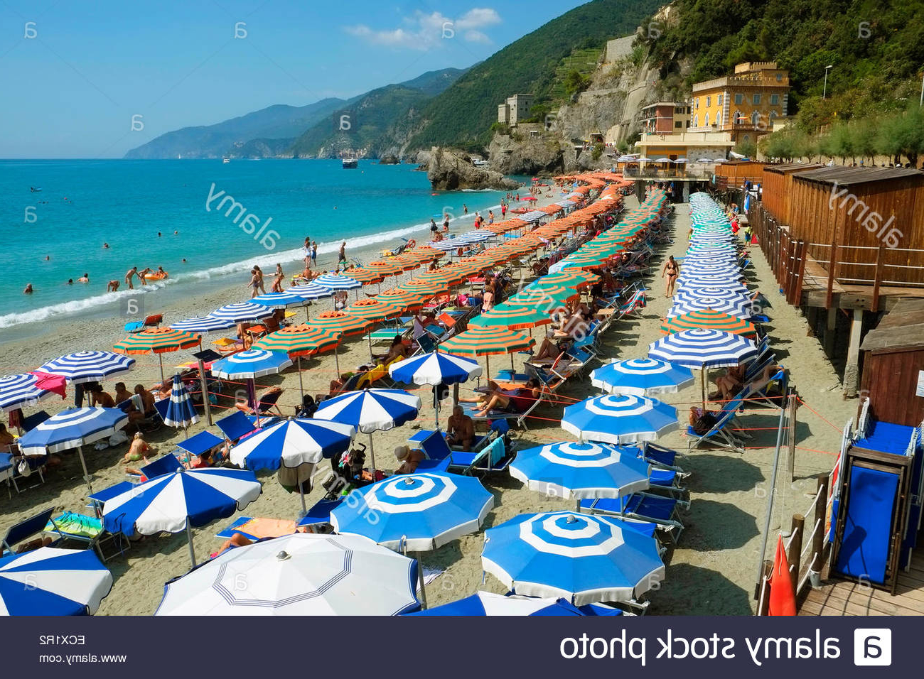 Well Liked Italian Beach Umbrellas Throughout Monterosso Beach Umbrellas Cinque Terre Italy Italian Riviera Stock (View 2 of 20)