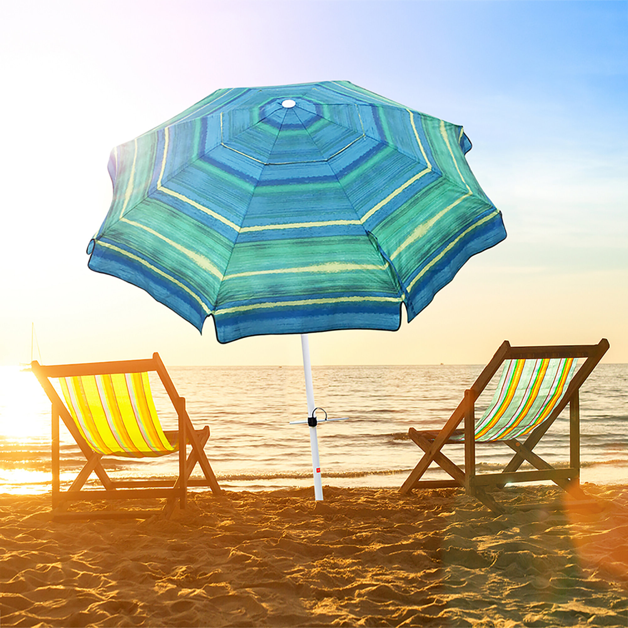 Well Liked Margaritaville Green And Blue Striped Beach With Built In Sand Anchor Umbrellas Pertaining To Newington 7' Beach Umbrella (View 14 of 20)