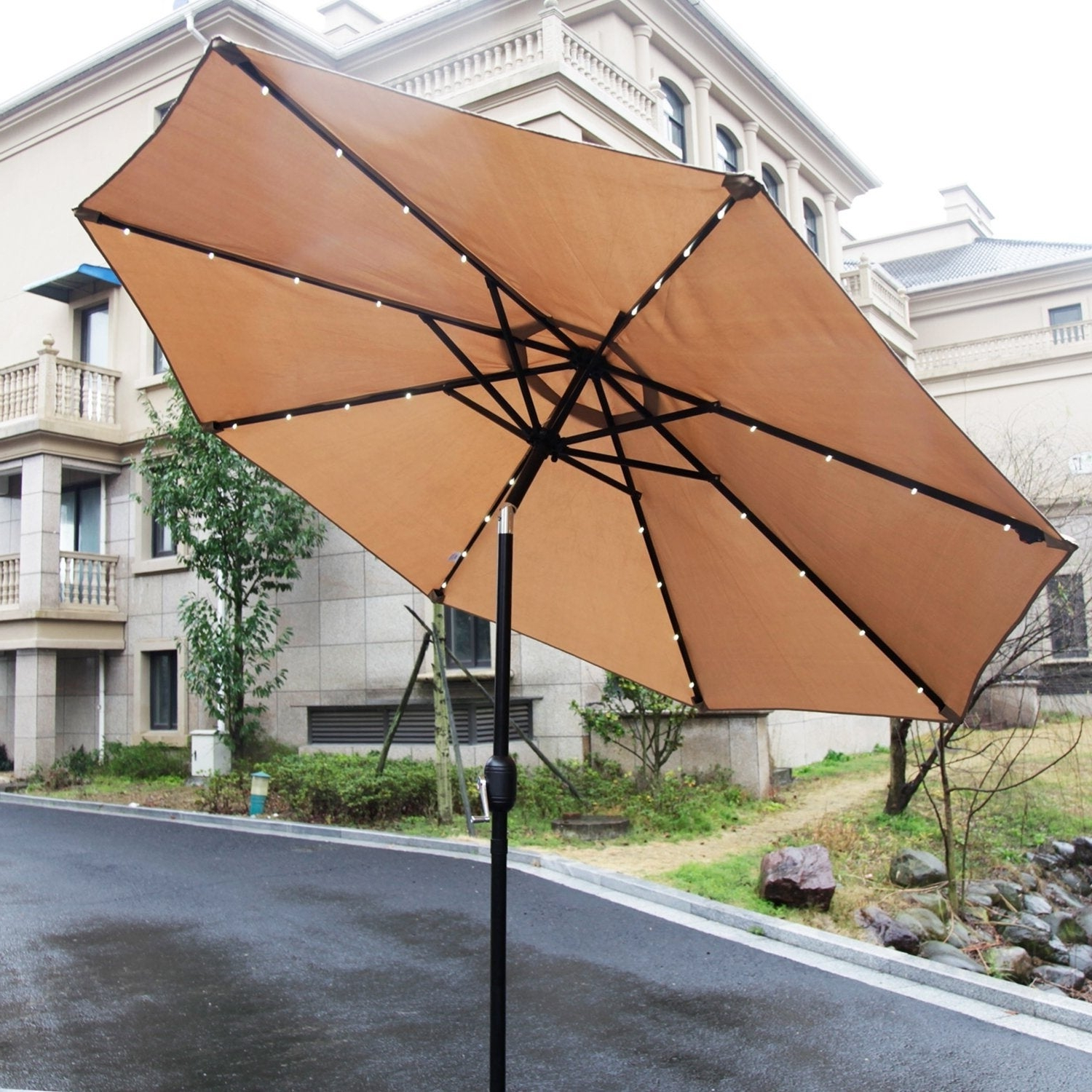 Well Liked Venice Lighted Umbrellas Intended For Kinbor 9Ft Patio Umbrella Led Lighted Hanging Umbrella Solar Power Table Market Umbrella (View 10 of 20)