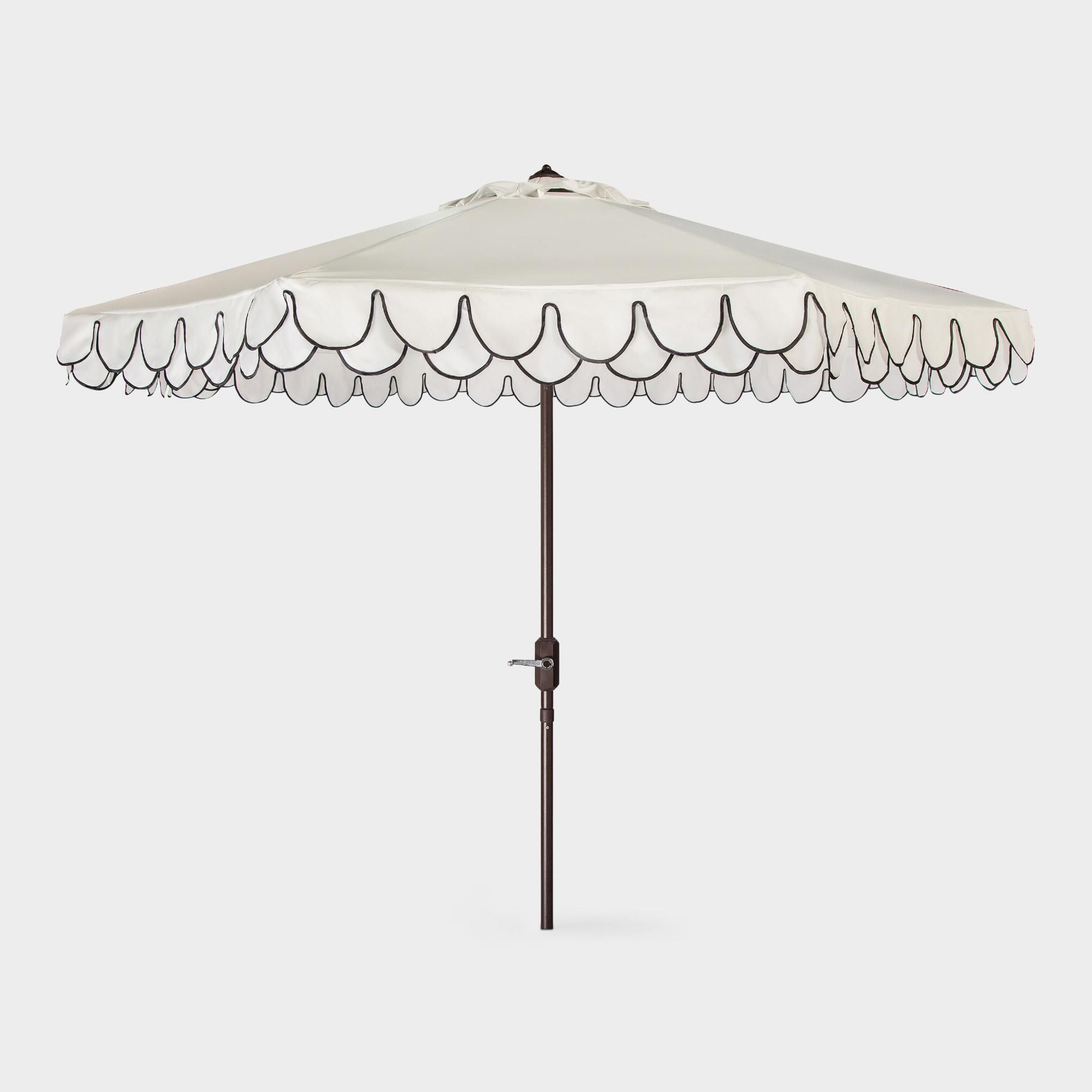White And Black Double Scallop 9 Ft Tilting Outdoor Patio Umbrella Throughout Favorite Venice Lighted Umbrellas (View 20 of 20)
