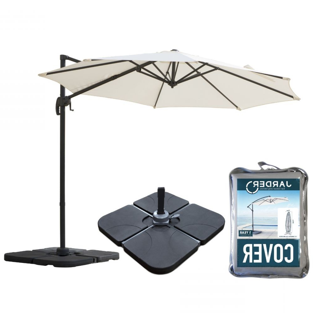 Widely Used Alyssa Cantilever Umbrellas Intended For Milan 3m Garden Parasol + Base + Cover Package (View 19 of 20)