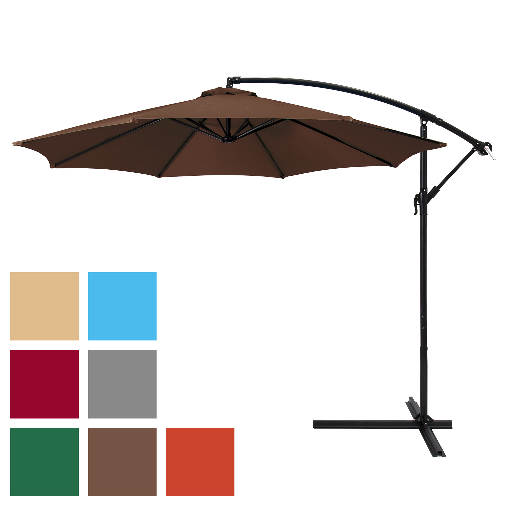 Widely Used Best Choice Products 10ft Offset Hanging Market Patio Umbrella W/ Easy Tilt Adjustment, Polyester Shade, 8 Ribs For Backyard, Poolside, Lawn And With Priscilla Market Umbrellas (View 12 of 20)