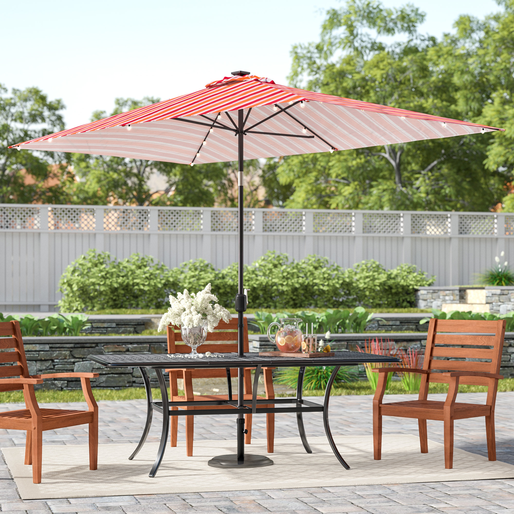 Widely Used Sherlyn Rectangular Market Umbrellas In Grieco Patio Solar Powered Led Lighted  (View 19 of 20)