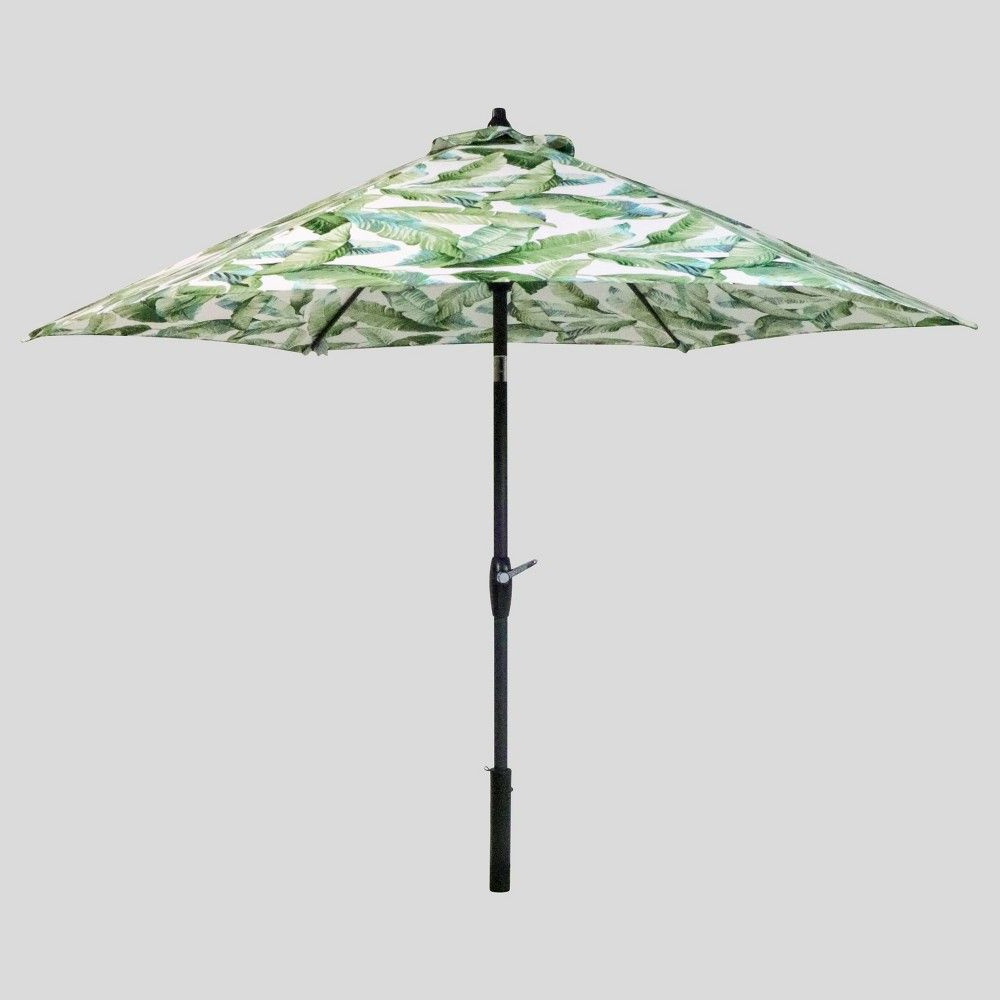 Widely Used Tropical Patio Umbrellas Within 9' Round Vacation Tropical Patio Umbrella Green – Light Wood Pole (View 2 of 20)