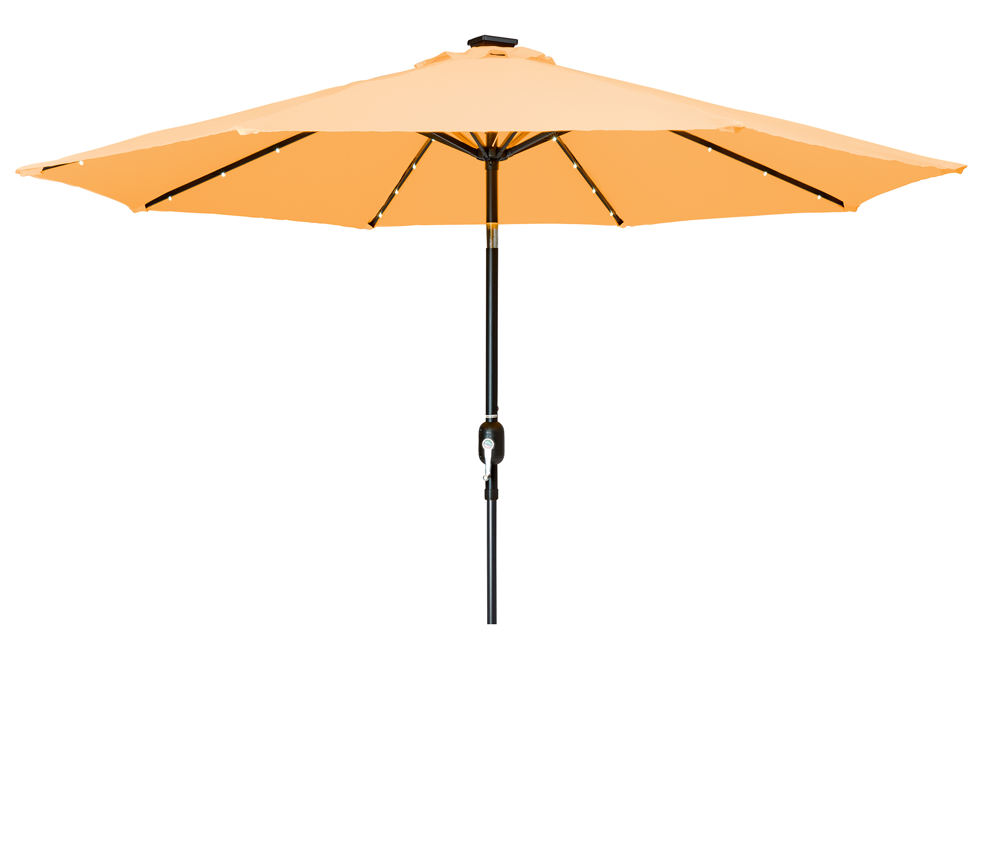 Widely Used Woll Lighted Market Umbrellas For 9' Deluxe Solar Powered Led Lighted Patio Umbrella, Tan (View 11 of 20)