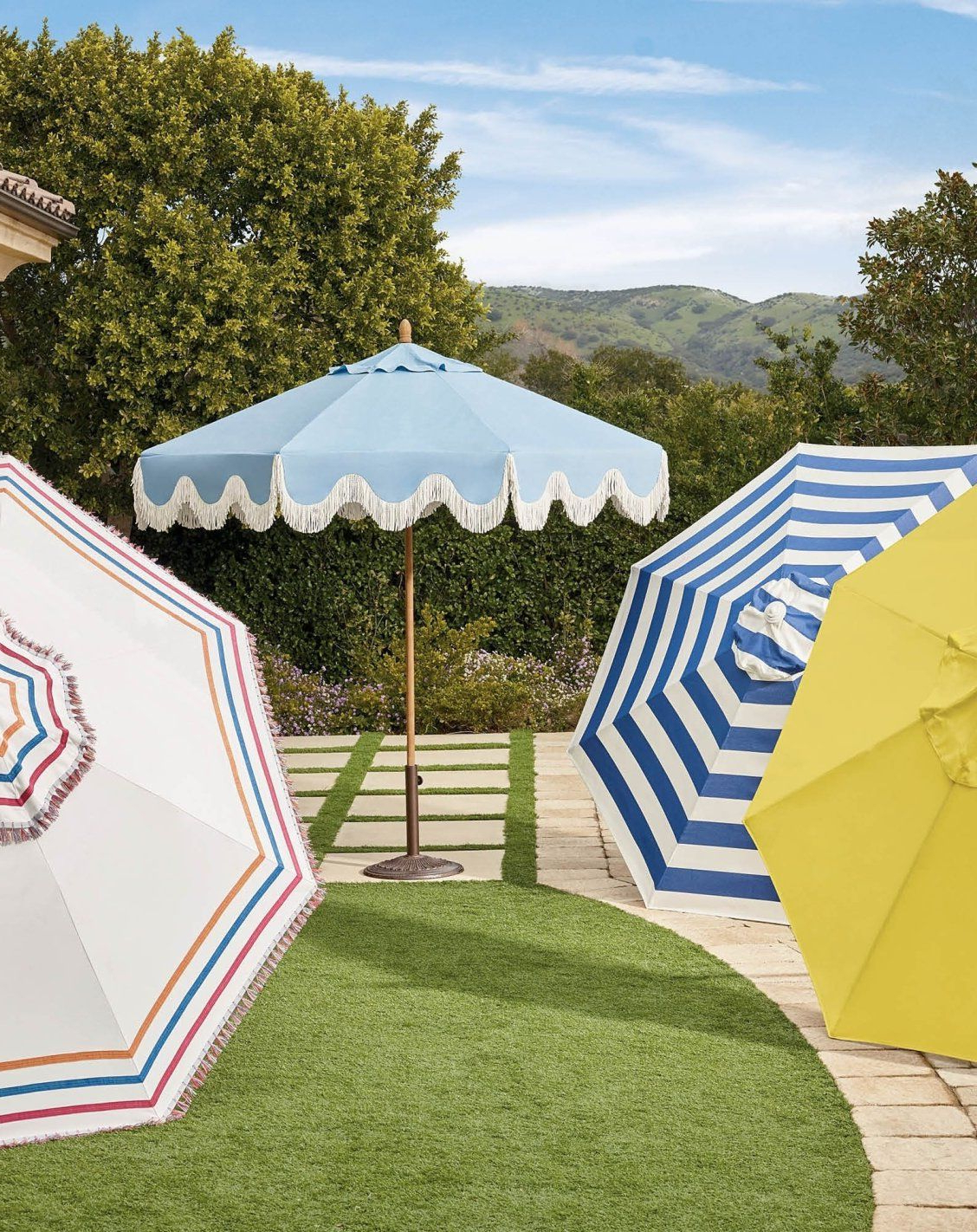 Wiebe Auto Tilt Square Market Sunbrella Umbrellas Within Most Popular Stripes, Tassels And Patterns – Oh My! How Will You Ever Choose An (View 18 of 20)
