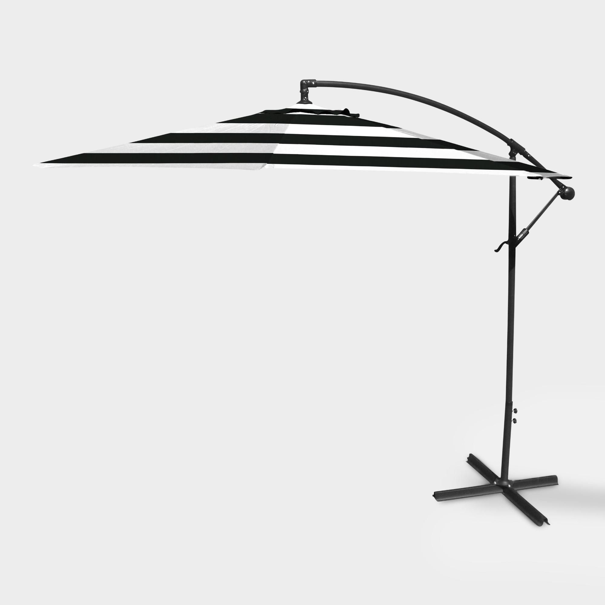 Wieczorek Auto Tilt Rectangular Market Sunbrella Umbrellas Within Most Recently Released Black Stripe 10 Ft Cantilever Outdoor Patio Umbrellaworld Market (View 8 of 20)