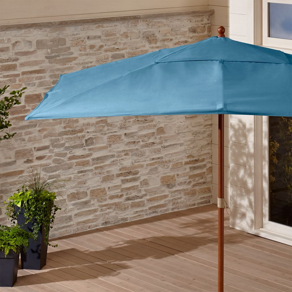Windell Square Cantilever Umbrellas Throughout Widely Used Rectangular Sunbrella ® Sapphire Patio Umbrella With Fsc Eucalyptus (View 11 of 20)
