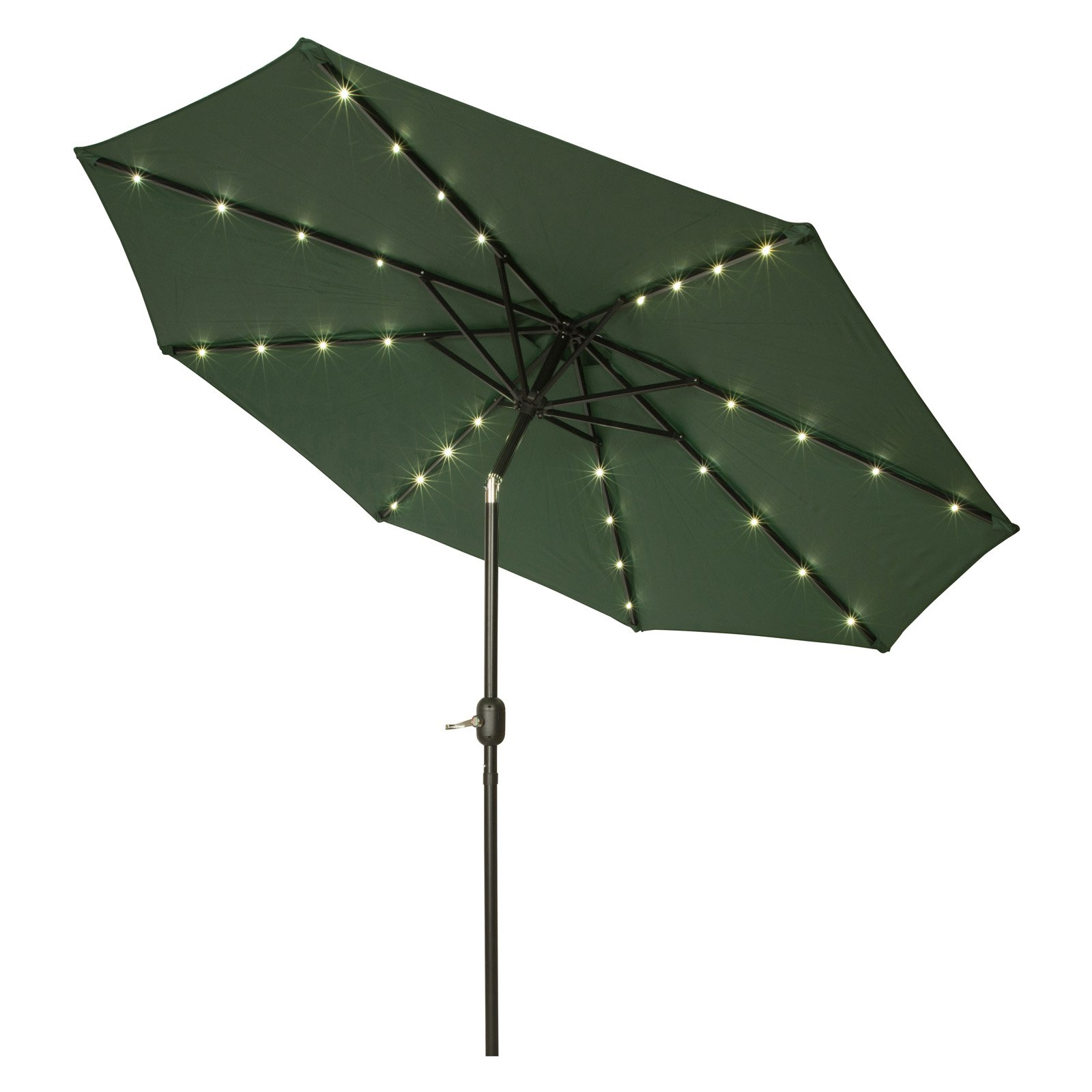 Woll Lighted Market Umbrellas Within Most Recently Released 9' Deluxe Solar Powered Led Lighted Patio Umbrella, Tan (View 18 of 20)