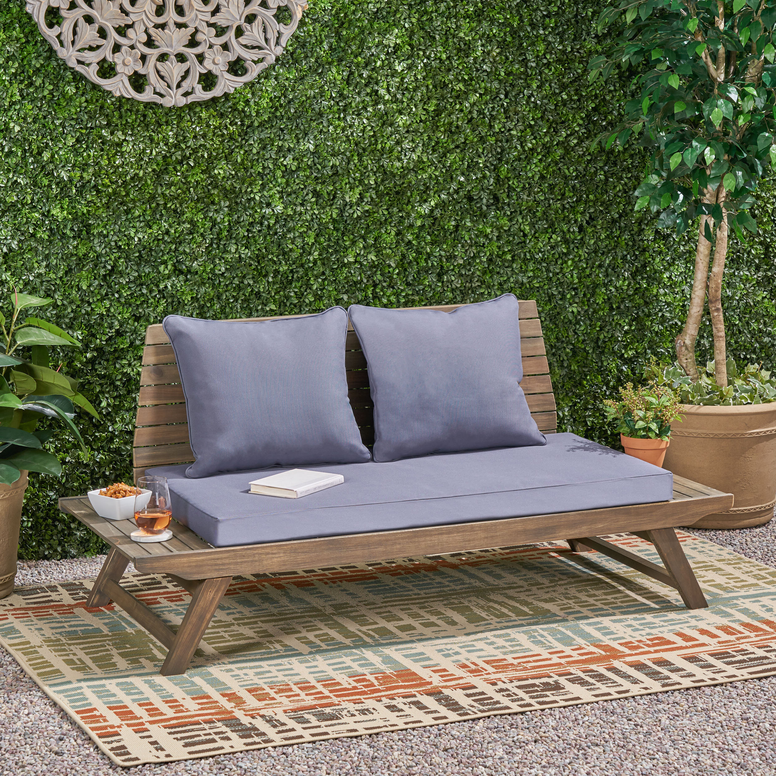 2019 Bullock Outdoor Wooden Loveseat With Cushions Inside Bullock Outdoor Wooden Loveseats With Cushions (View 1 of 20)