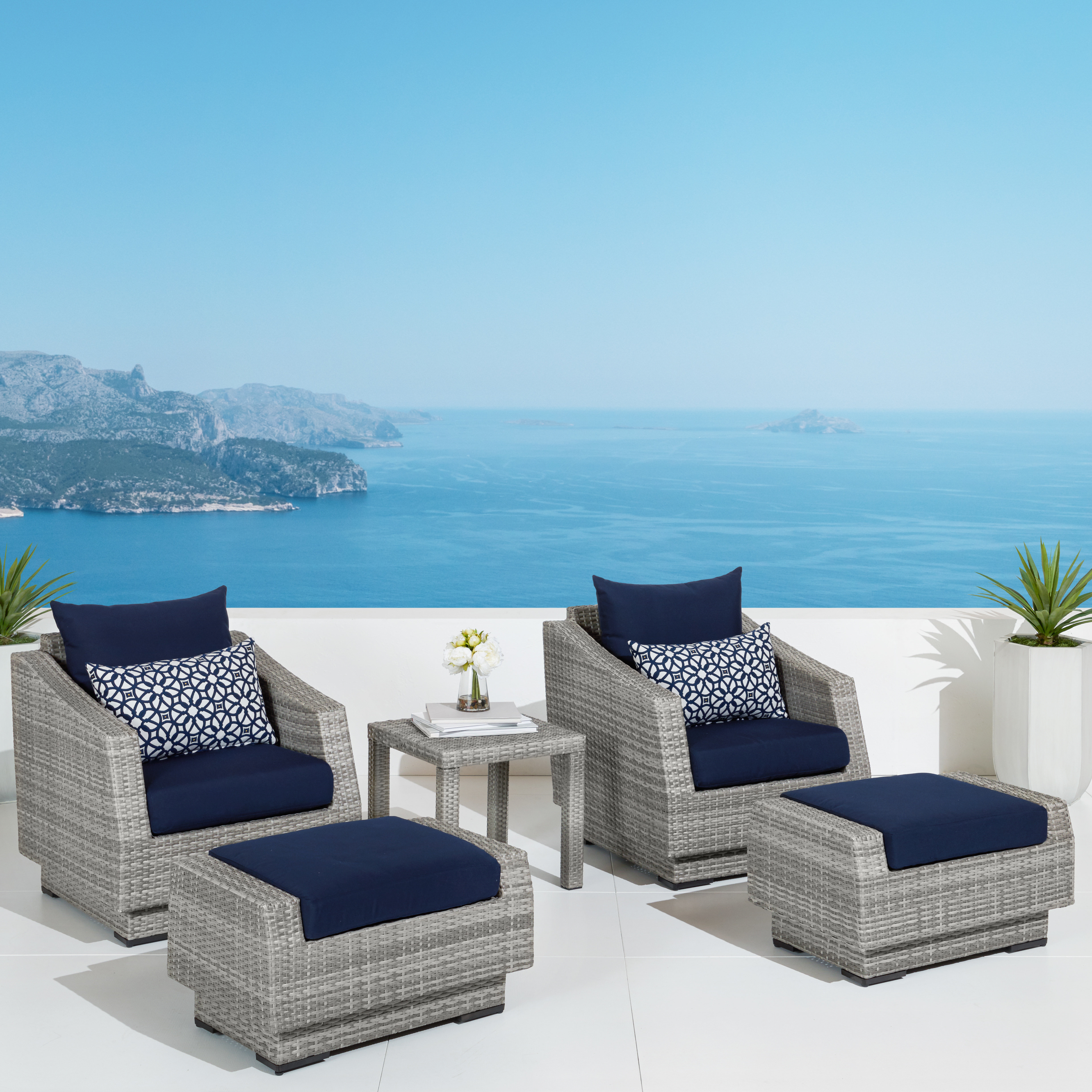 2019 Castelli 5 Piece Rattan Conversation Set With Cushions Inside Kunz Loveseats With Cushions (View 1 of 20)