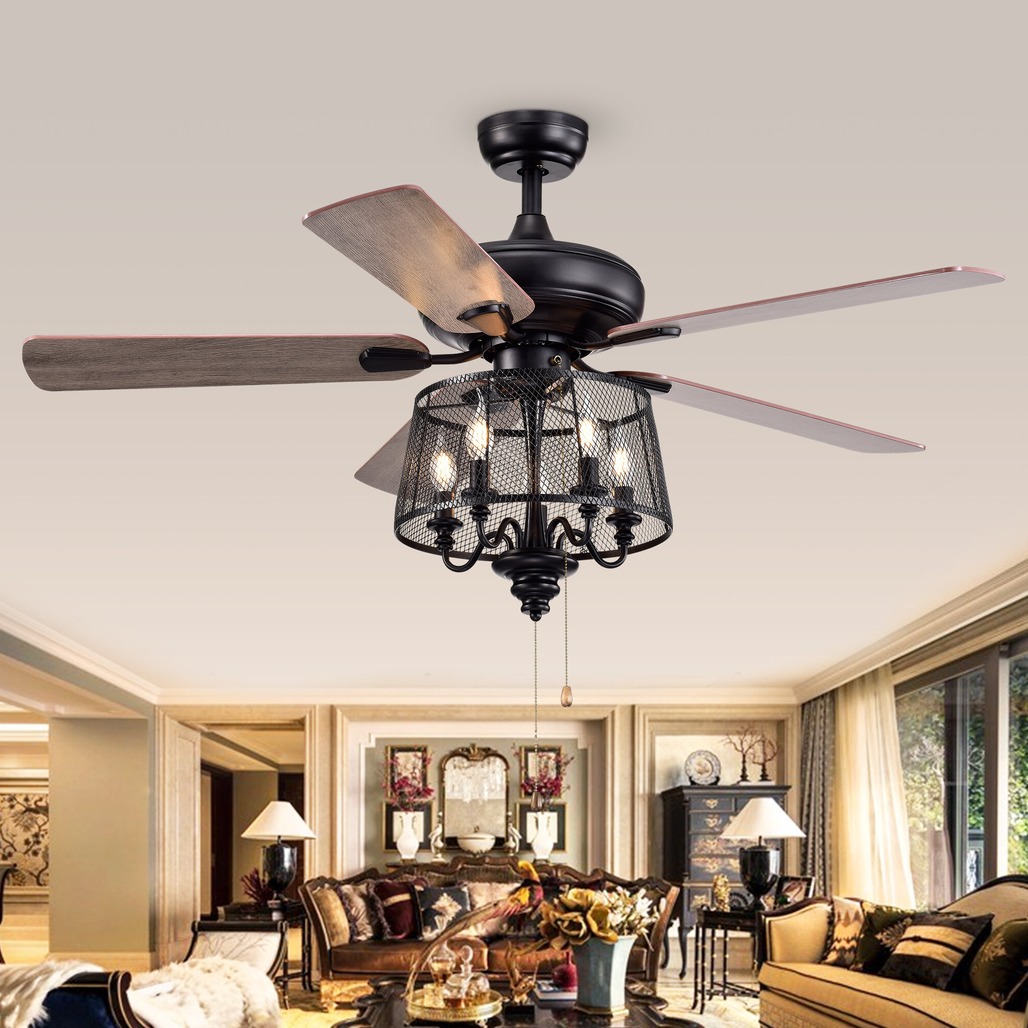 2019 Croteau 5 Blade Ceiling Fan, Light Kit Included Regarding Njie Caged Crystal 5 Blade Ceiling Fans (Gallery 10 of 20)