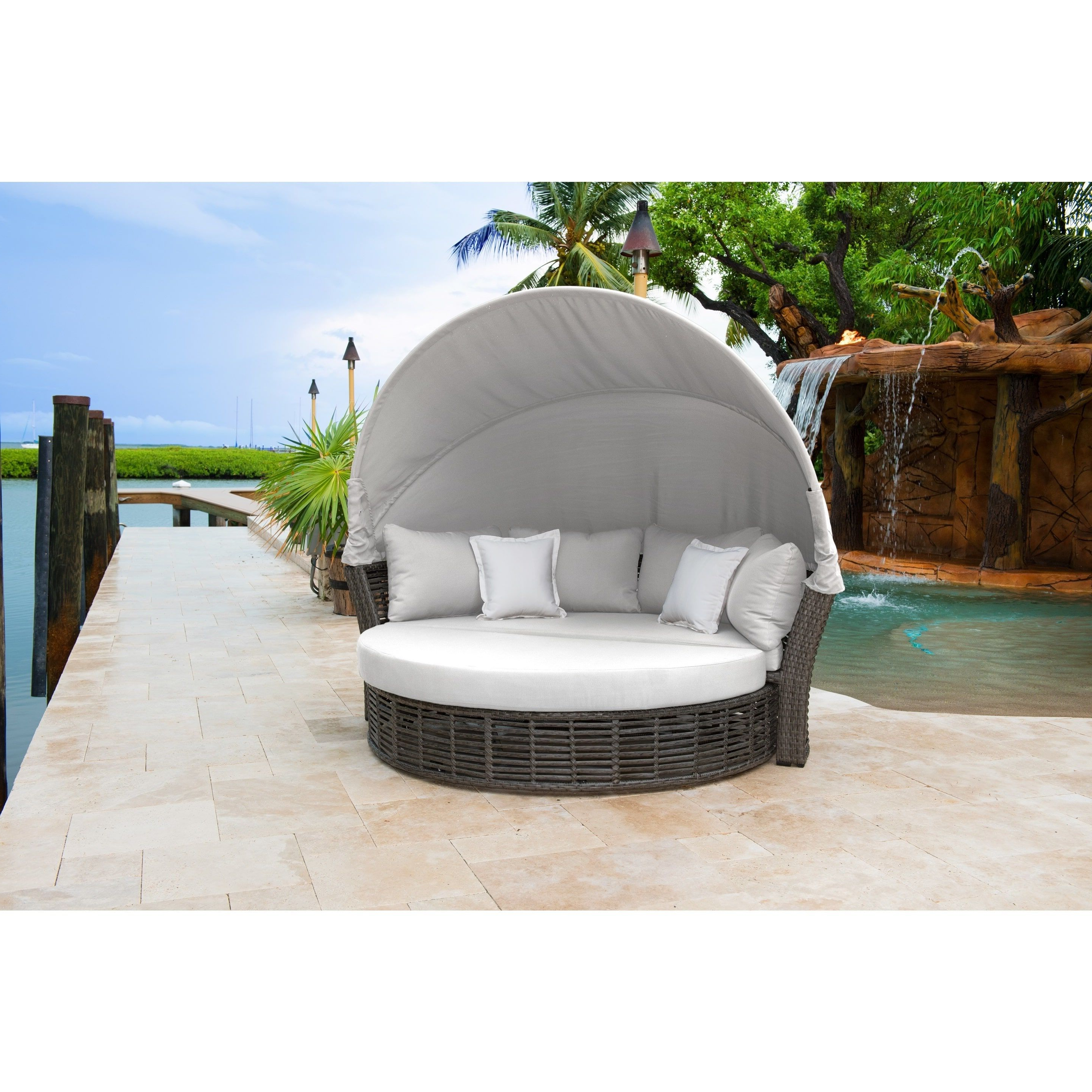 2019 Fansler Patio Daybeds With Cushions Intended For Panama Jack Graphite Resin Wicker/aluminum Canopy Daybed (View 1 of 20)