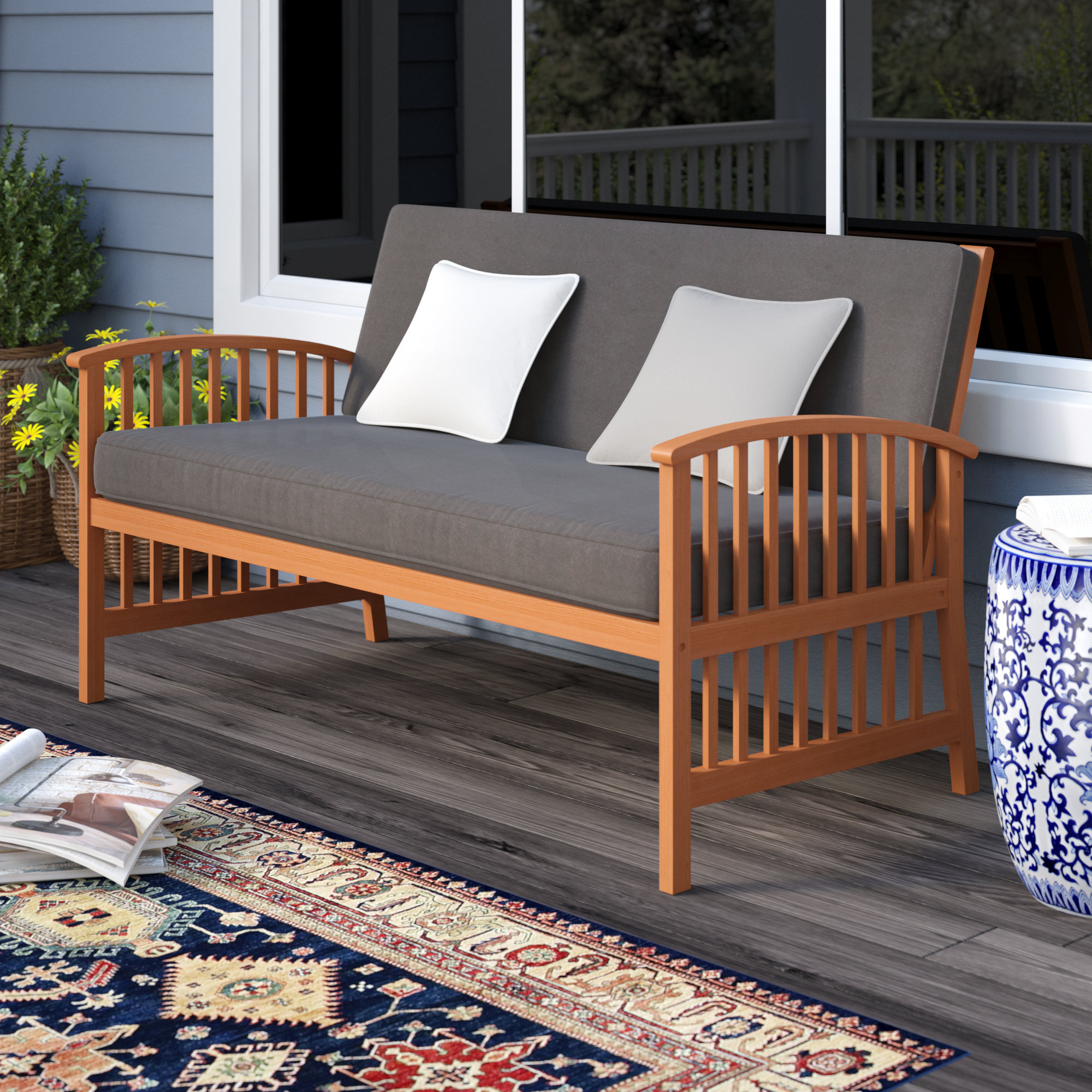 2019 Greenup Outdoor Sofa With Cushions Inside Calila Teak Loveseats With Cushion (View 1 of 20)