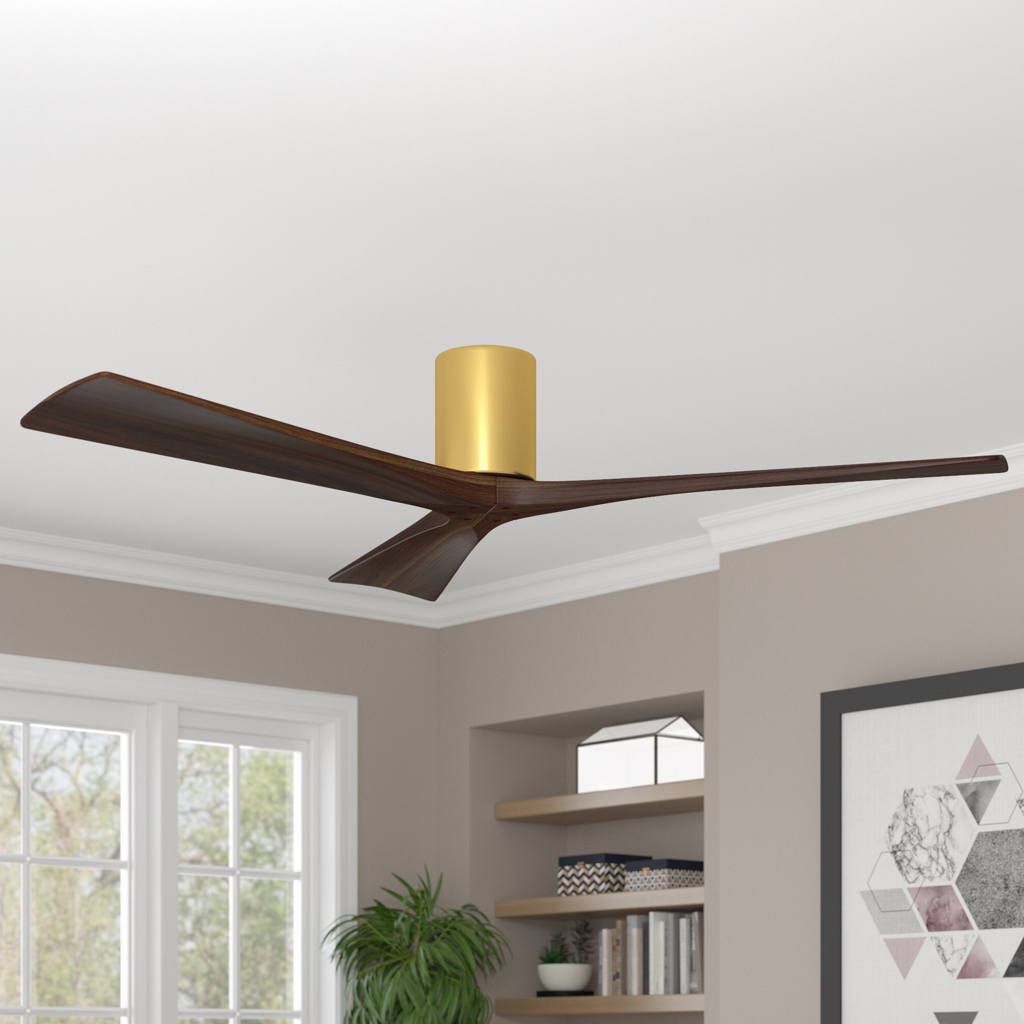 "2019 Hedin 3 Blade Hugger Ceiling Fans Pertaining To 60"" Rosalind 3 Blade Hugger Ceiling Fan With Wall Remote (View 12 of 20)"