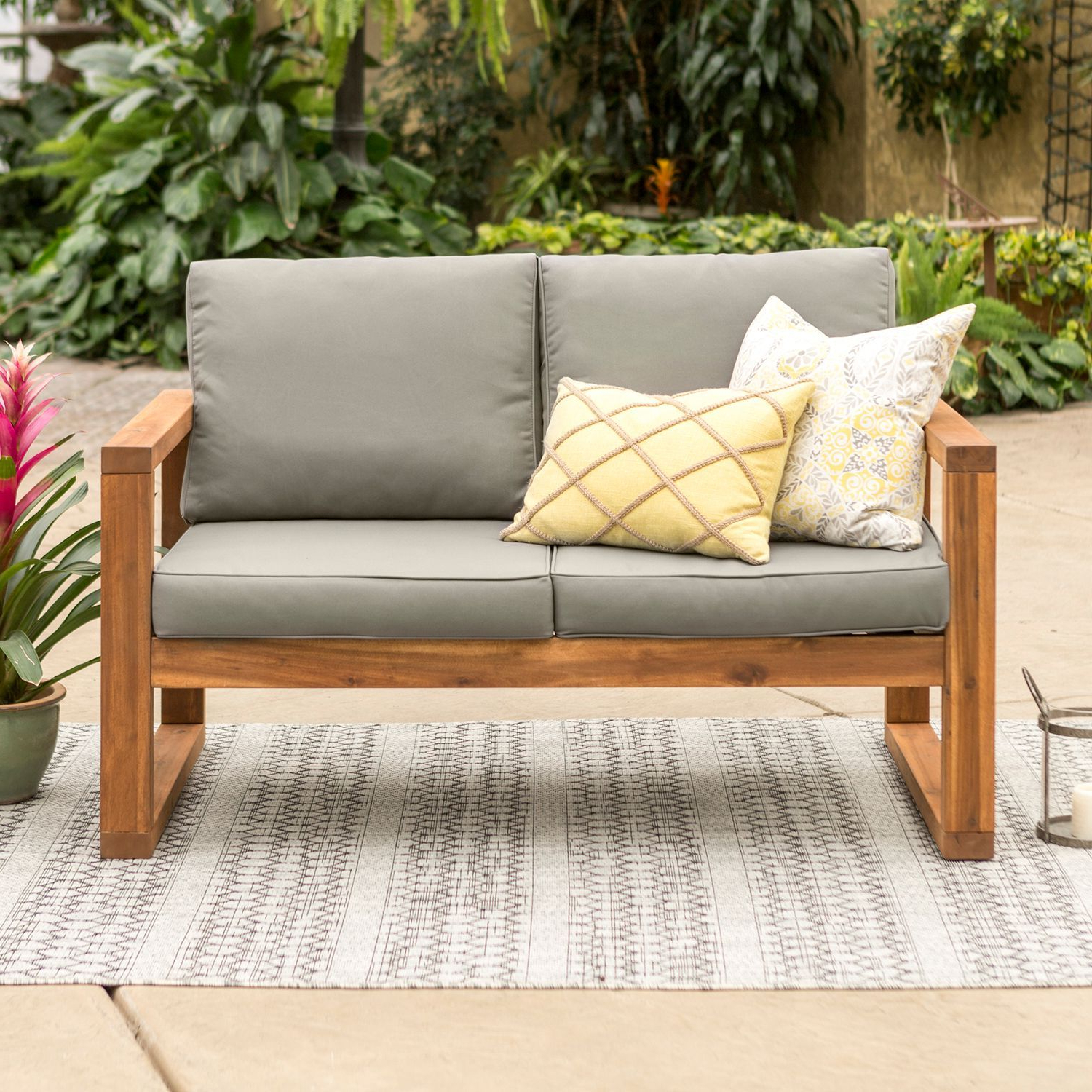 2019 Hudson Acacia Outdoor Patio Love Seat With Gray Cushions Regarding Lyall Loveseats With Cushion (View 8 of 20)