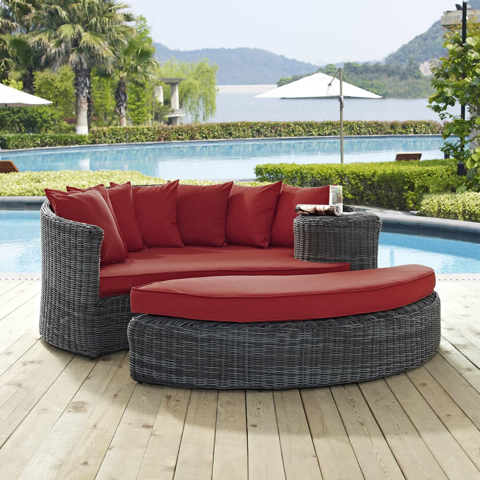 2019 Keiran Patio Daybed With Cushions Intended For Lammers Outdoor Wicker Daybeds With Cushions (View 1 of 20)