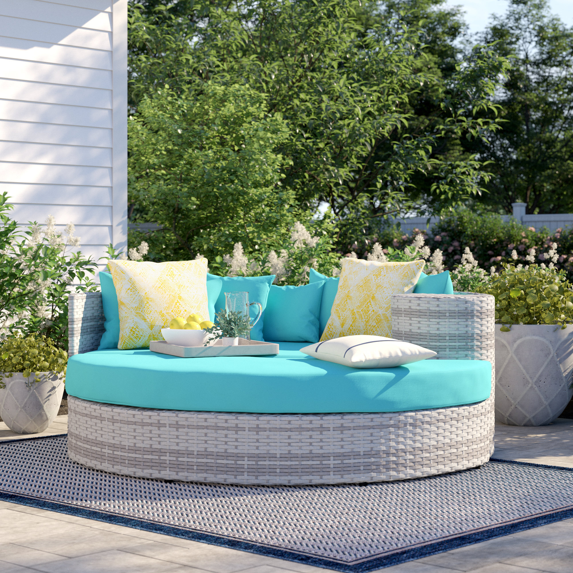 2019 Lit De Jour De Patio Avec Coussins Falmouth Throughout Keiran Patio Daybeds With Cushions (View 11 of 20)