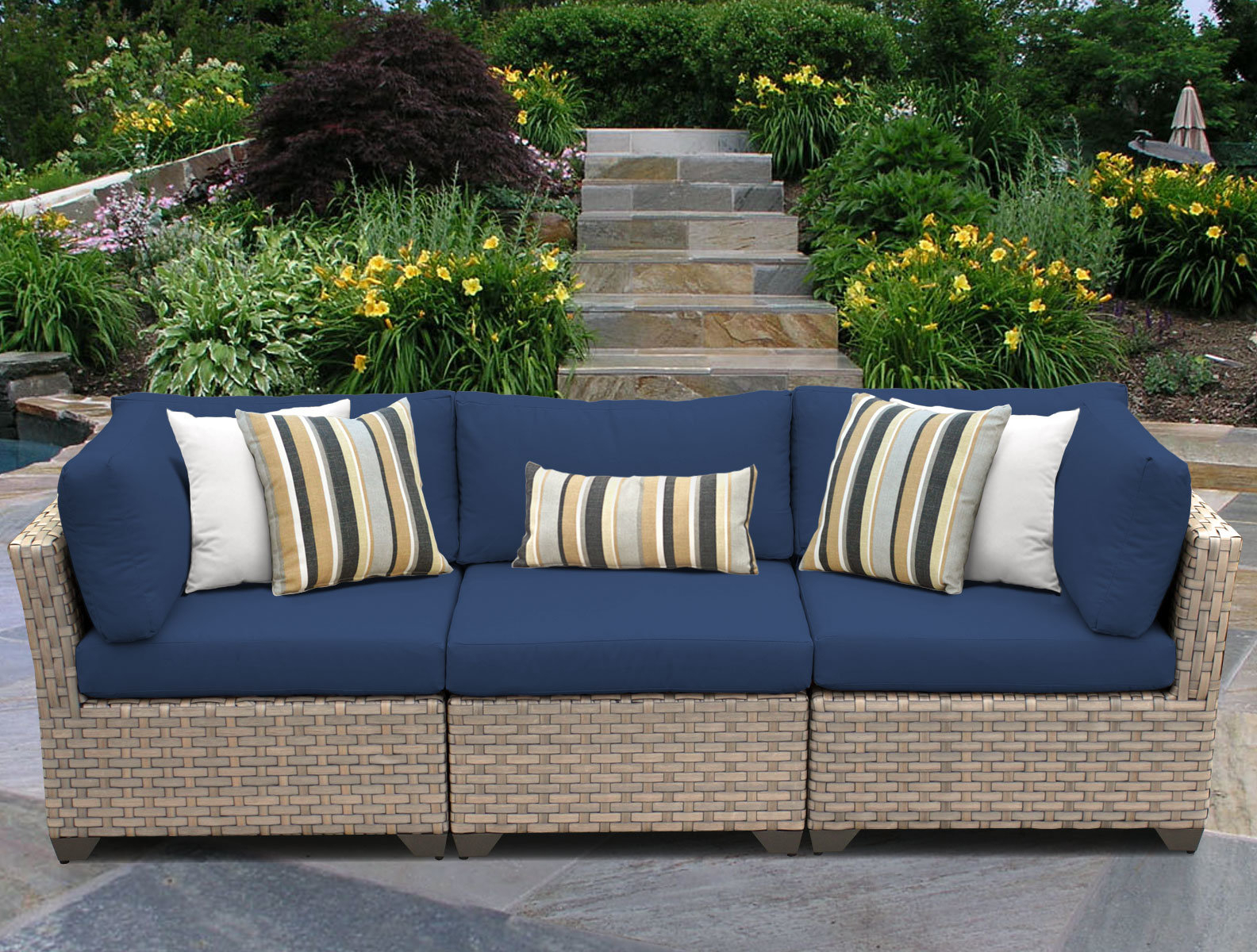 2019 Meeks Patio Sofas With Cushions Within Rochford Patio Sofa With Cushions (Gallery 6 of 20)