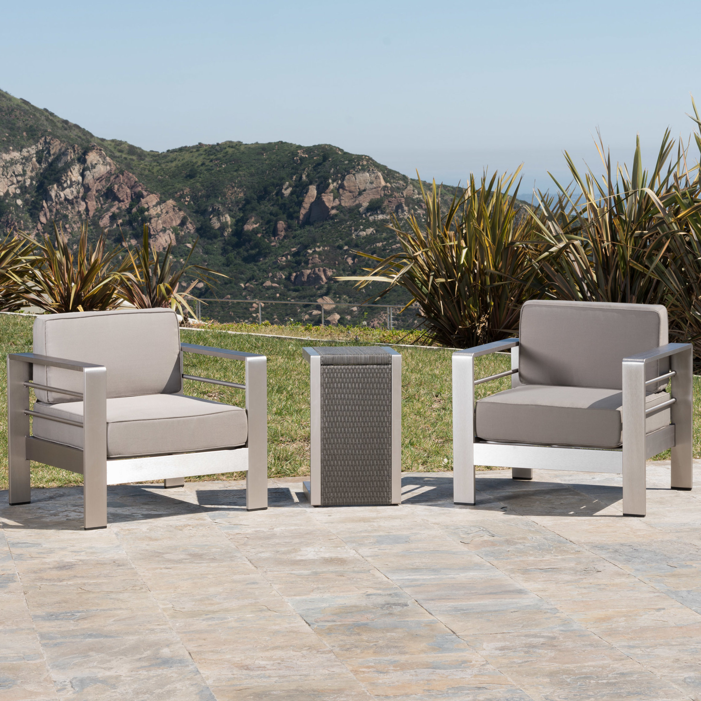 2019 Royalston 3 Piece Conversation Set With Cushions Intended For Royalston Patio Sofas With Cushions (View 2 of 20)